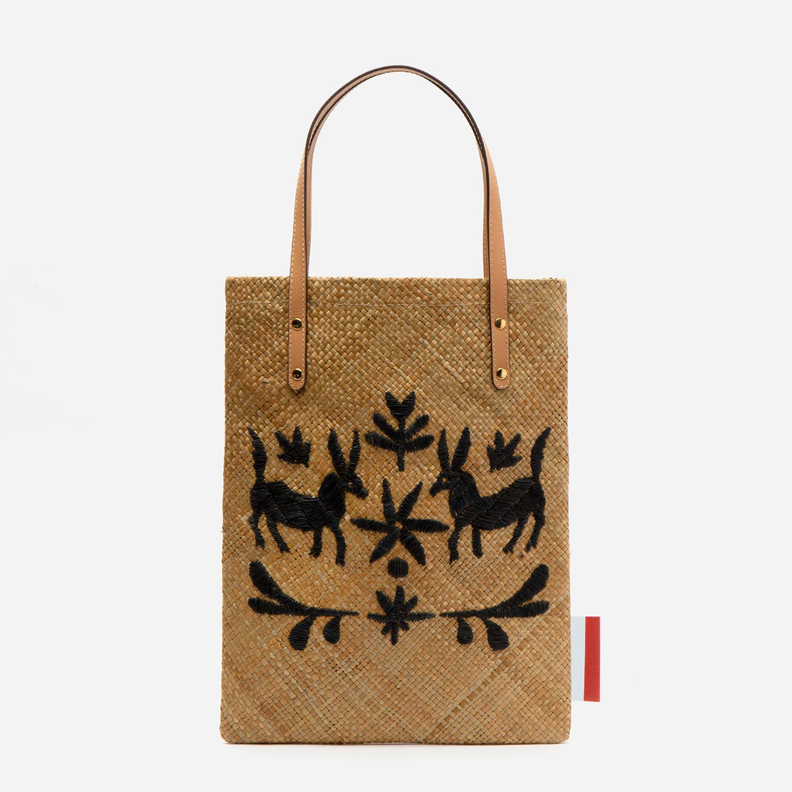 Flat Palm Leaf Embroidered Tote Natural Black