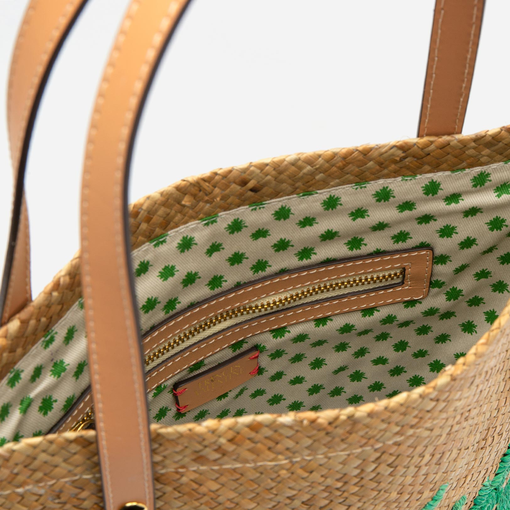 Flat Palm Leaf Embroidered Tote Natural Green