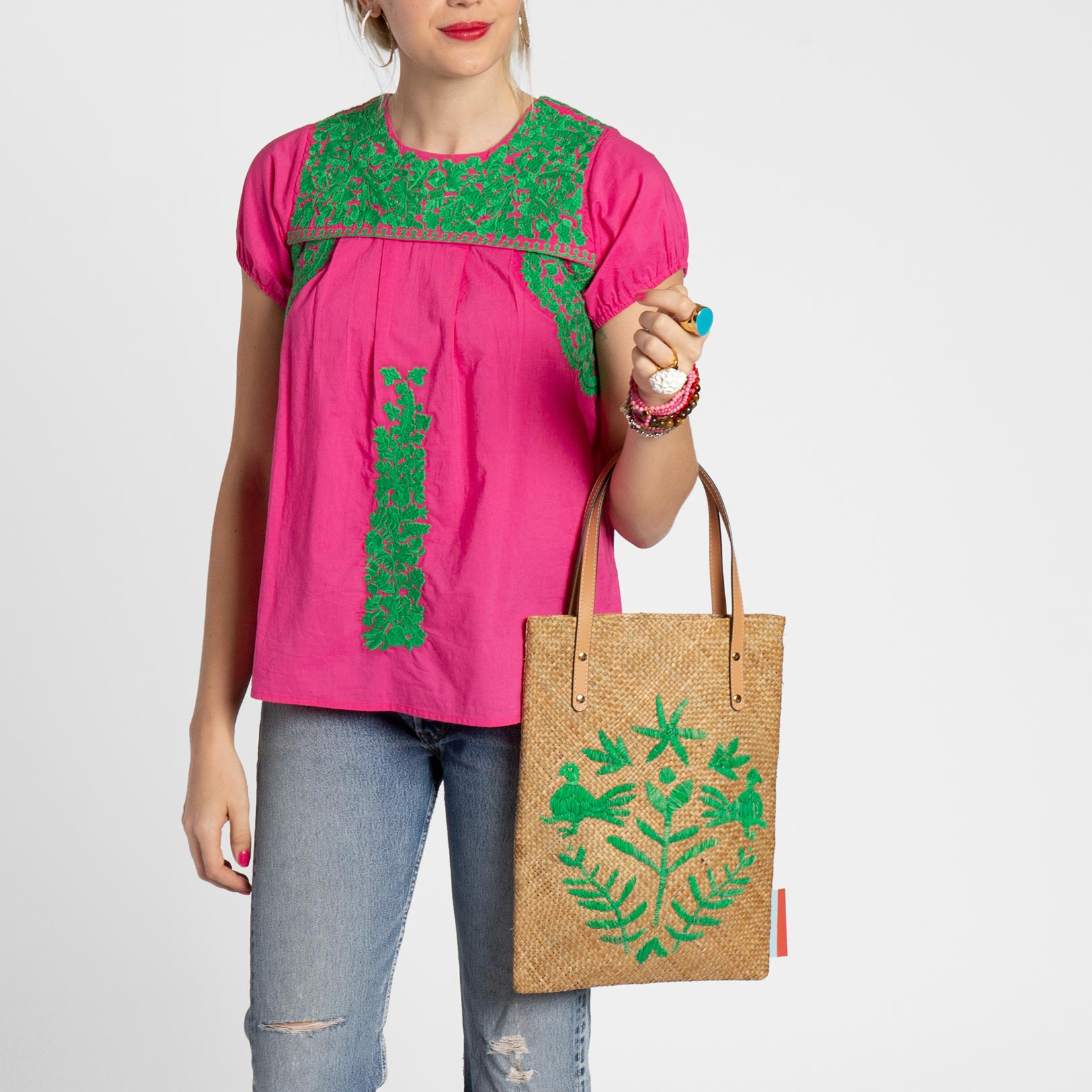 Flat Palm Leaf Embroidered Tote Natural Pink