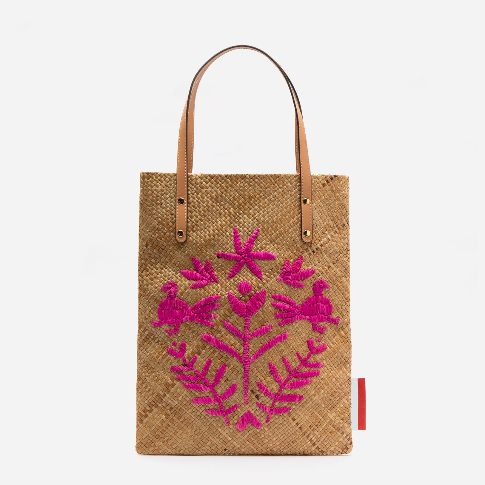 Flat Palm Leaf Embroidered Tote Natural Pink - Frances Valentine