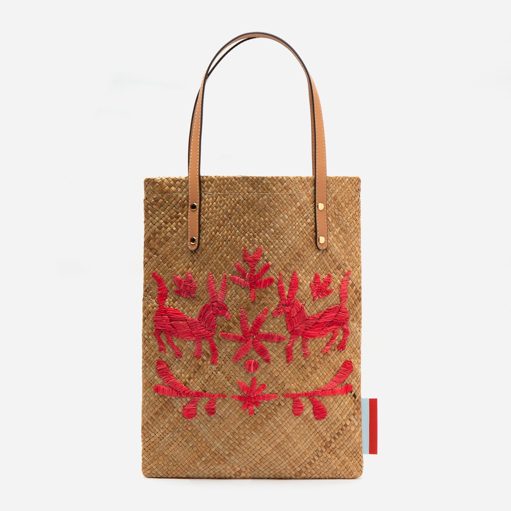 Flat Palm Leaf Embroidered Tote Natural Red