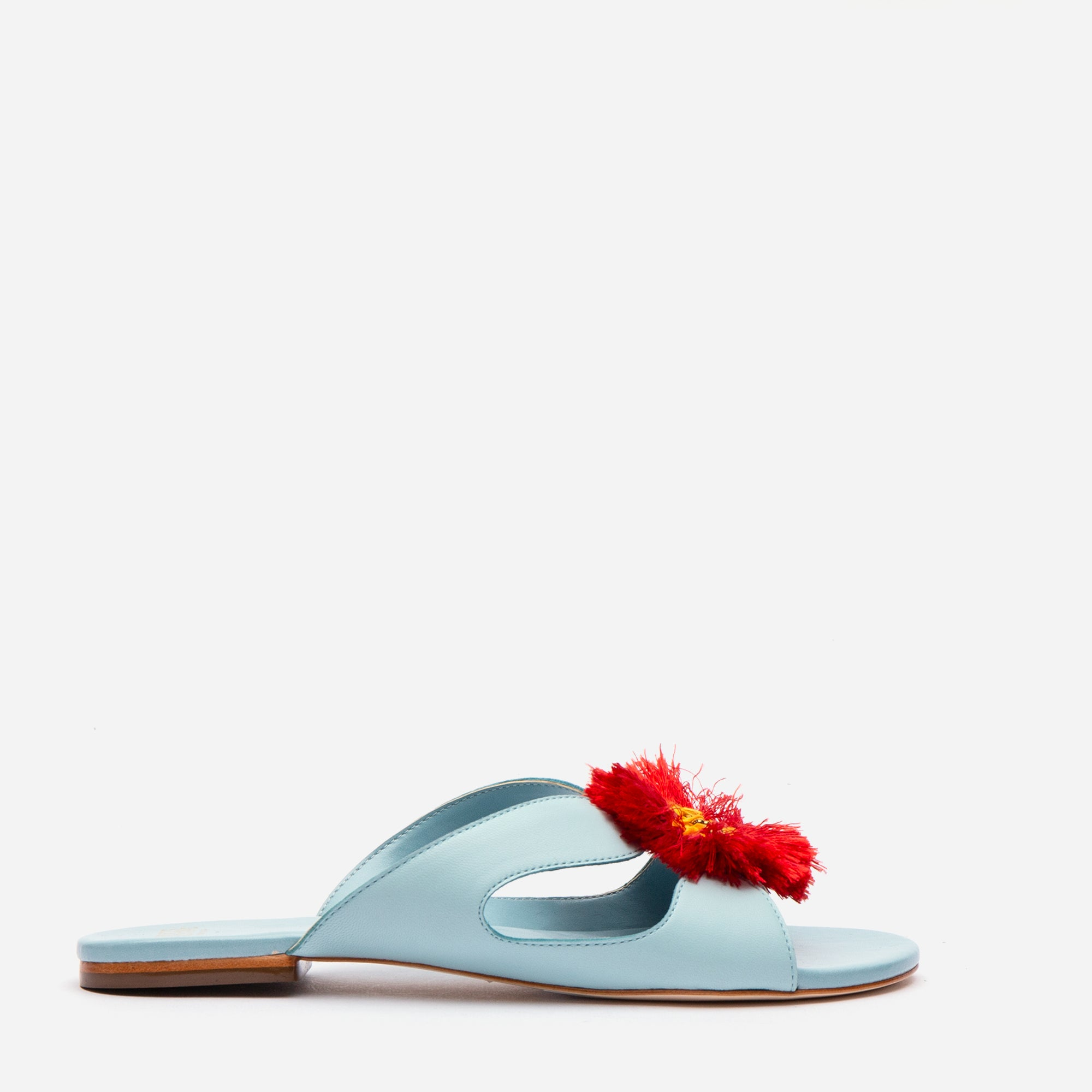 Meredith Slide Fringe Flowers Light Blue