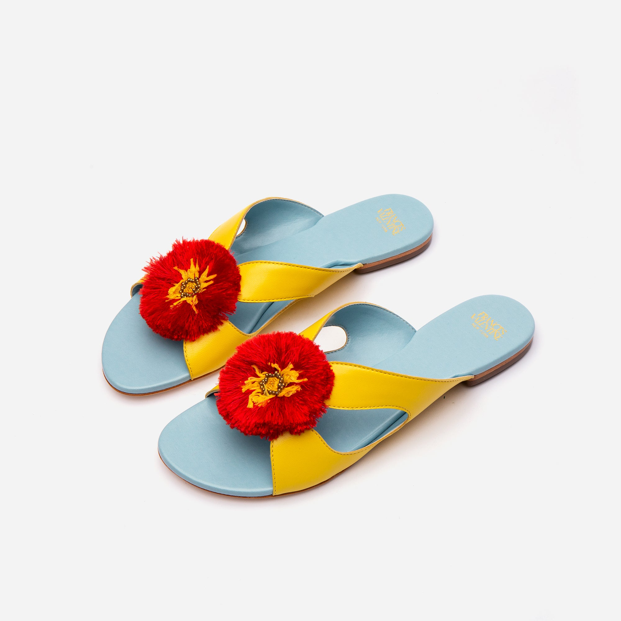 Meredith Slide Fringe Flowers Yellow