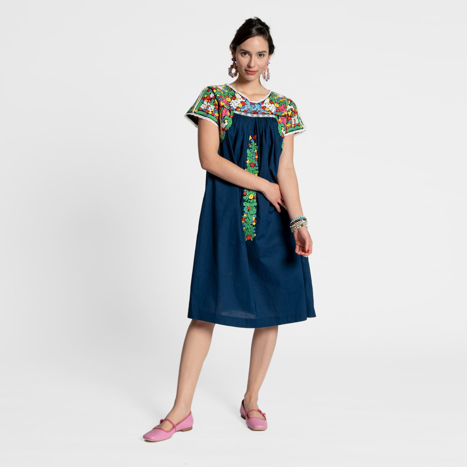 Embroidered Flower Midi Dress Navy - Frances Valentine
