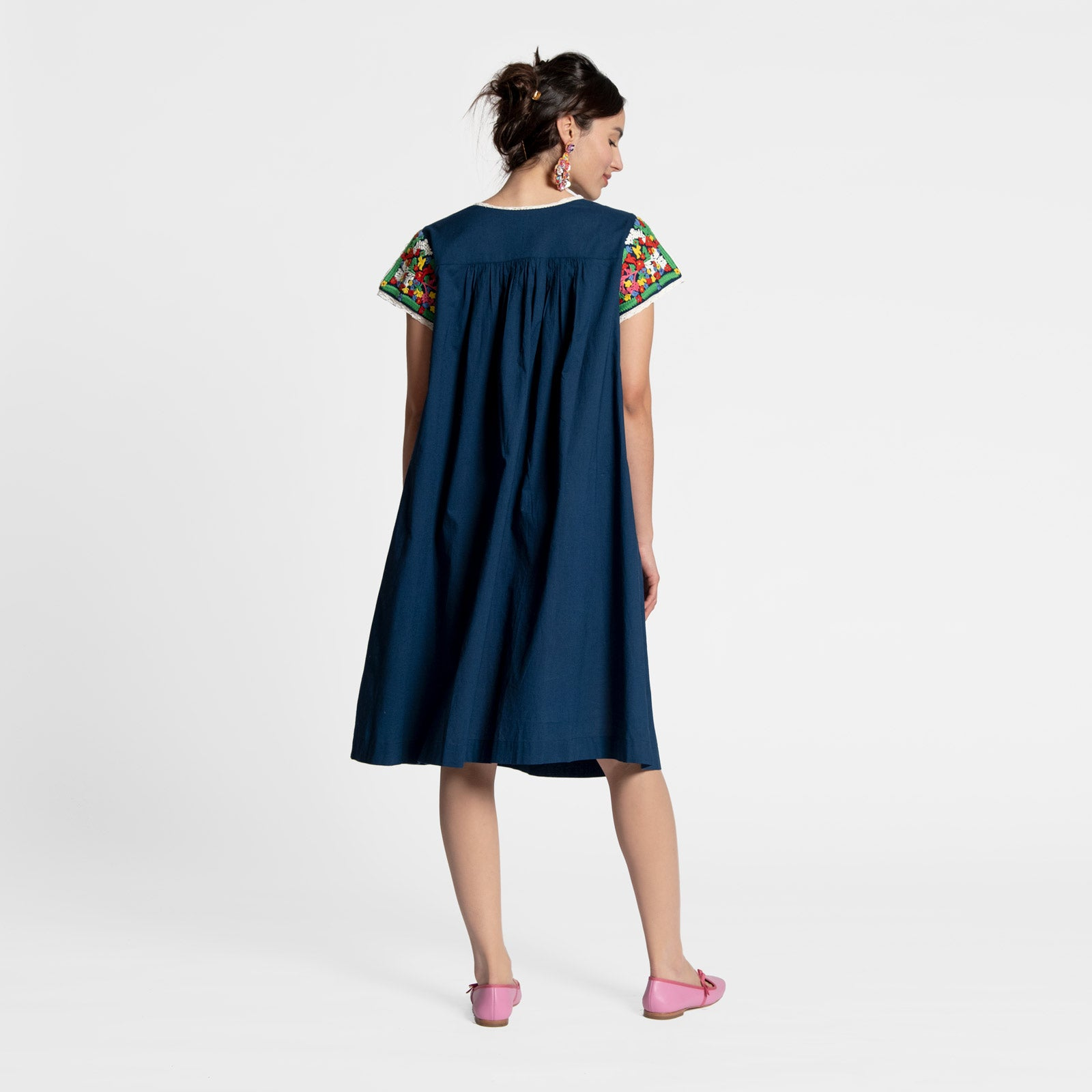 Embroidered Flower Midi Dress Navy