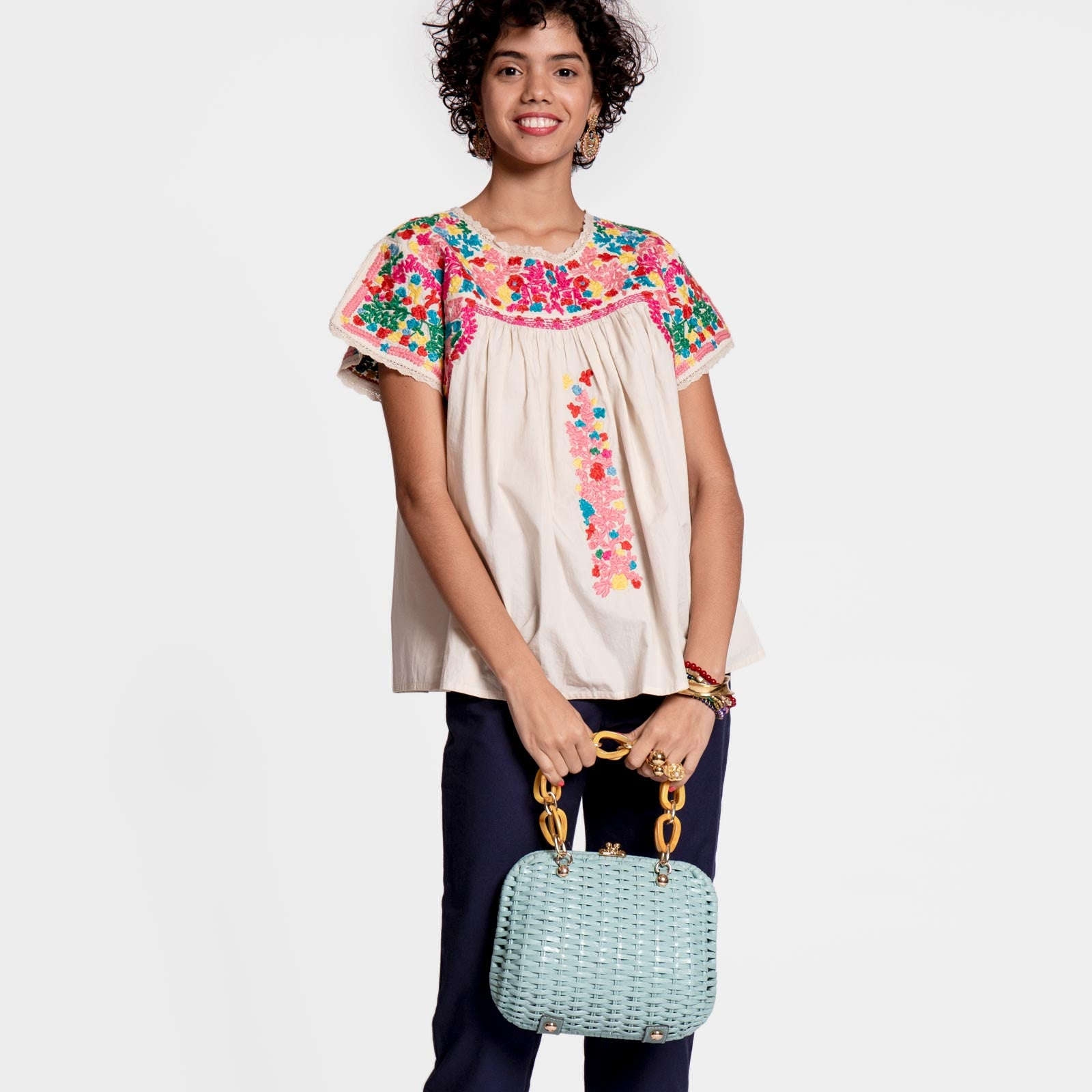 Embroidered Flower Top Oyster
