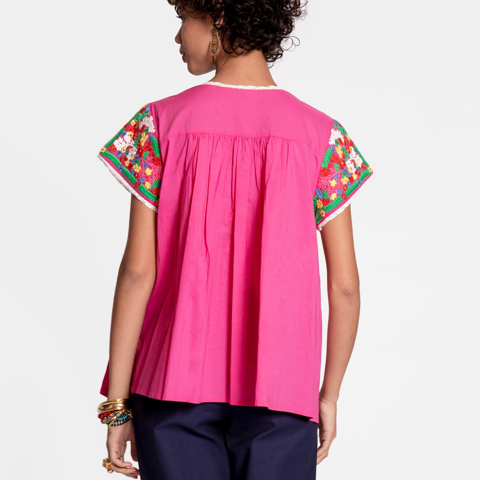 Embroidered Flower Top Pink