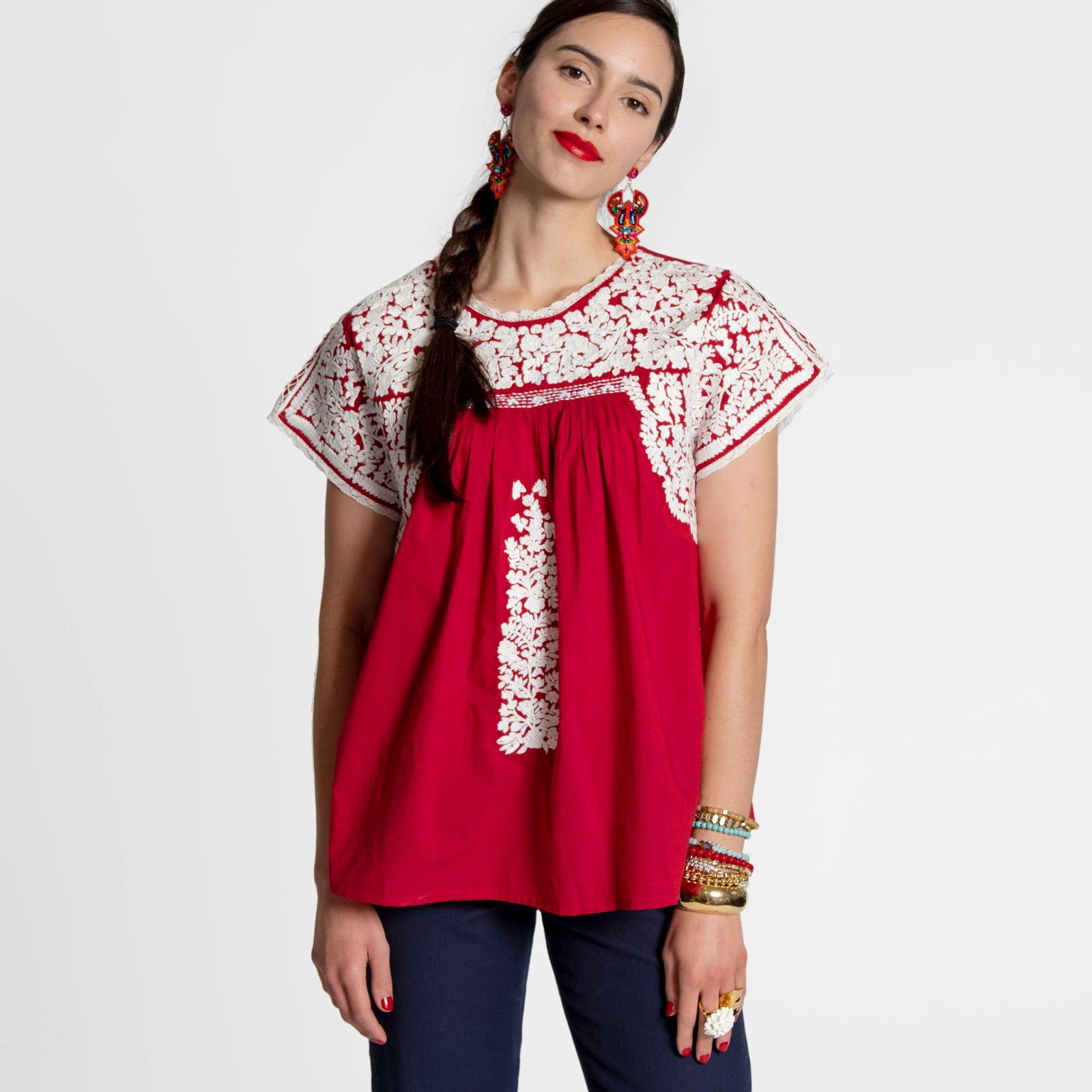 Embroidered Flower Top Red