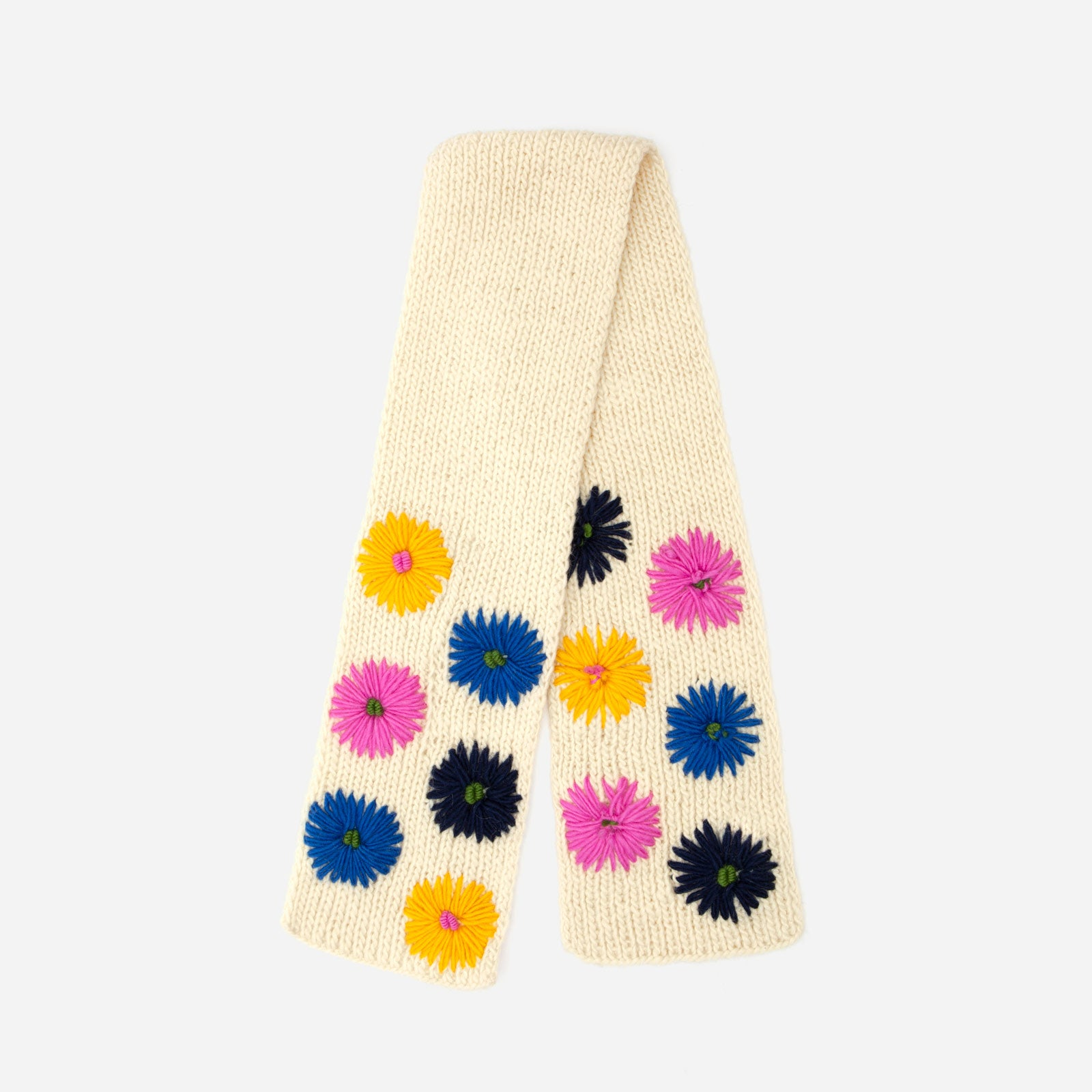 Wool Flower Scarf Oyster