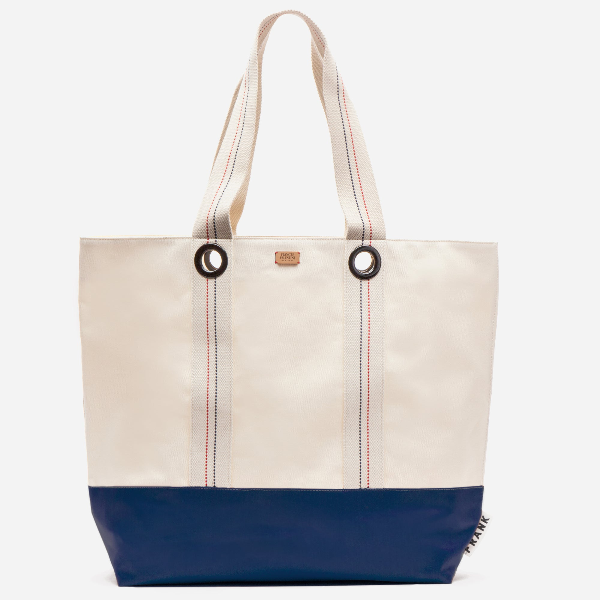 Frank Men's XL Canvas Tote Natural Navy - Frances Valentine