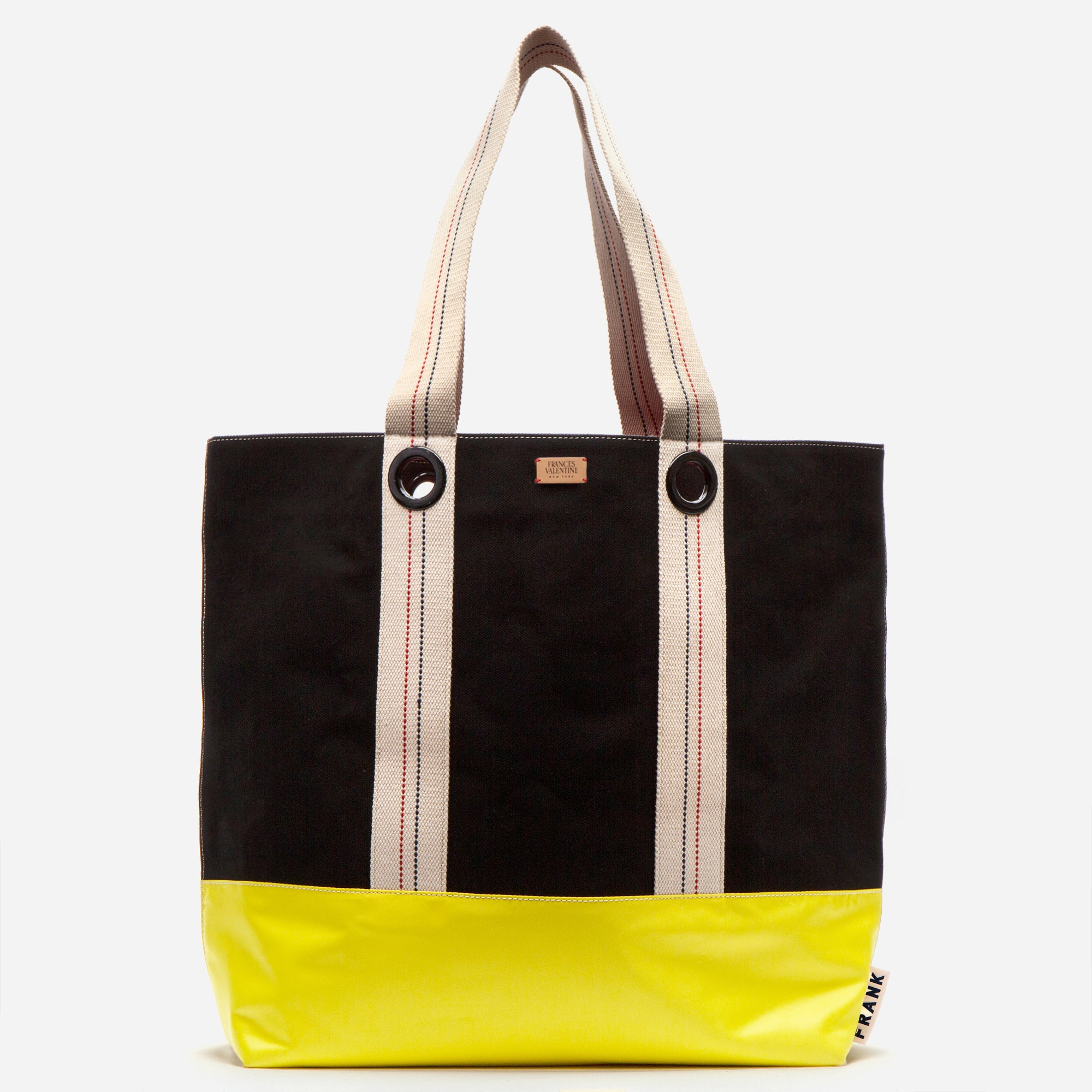 Frank Men's XL Canvas Tote Black Yellow - Frances Valentine