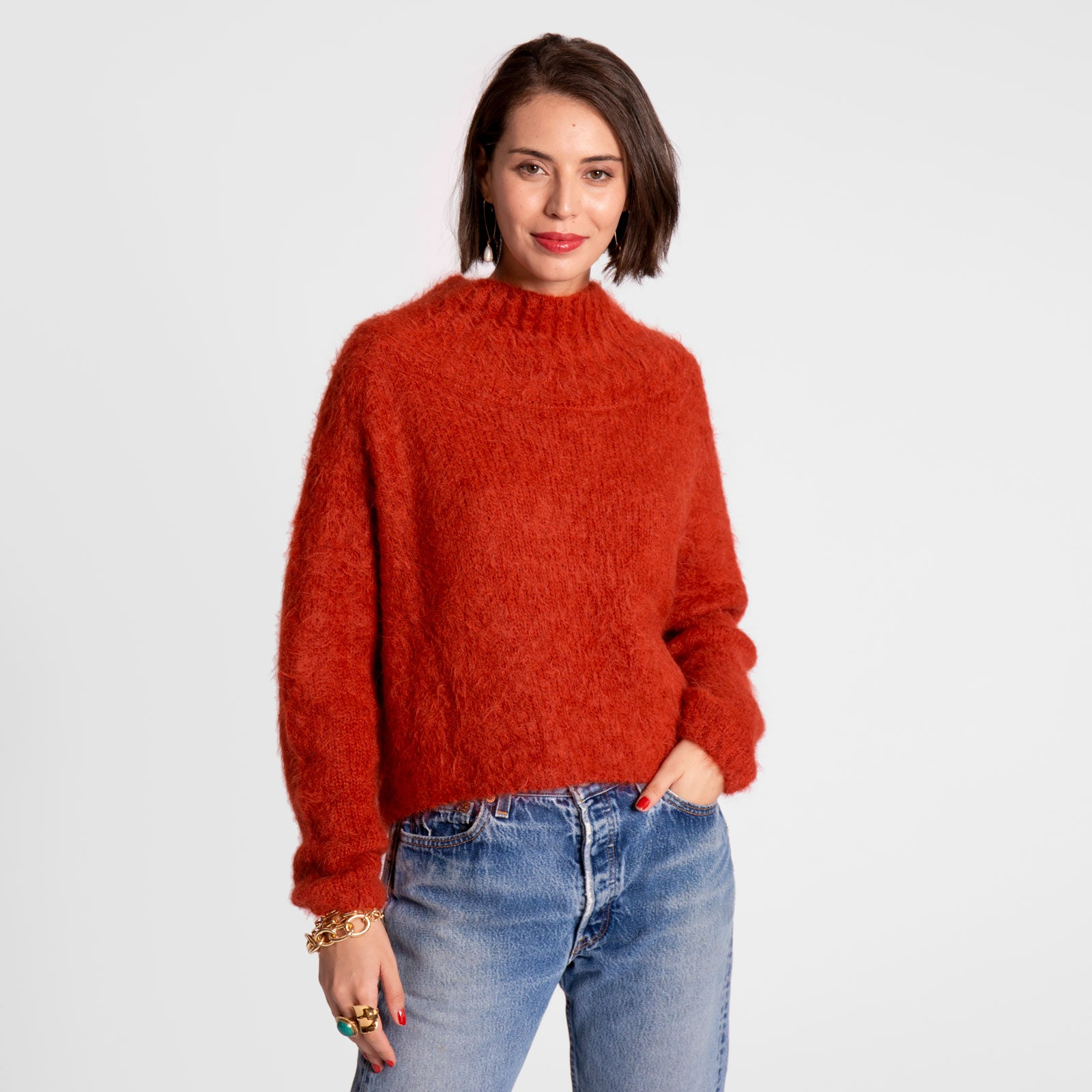 Audrey Funnel Neck Sweater Tomato - Frances Valentine