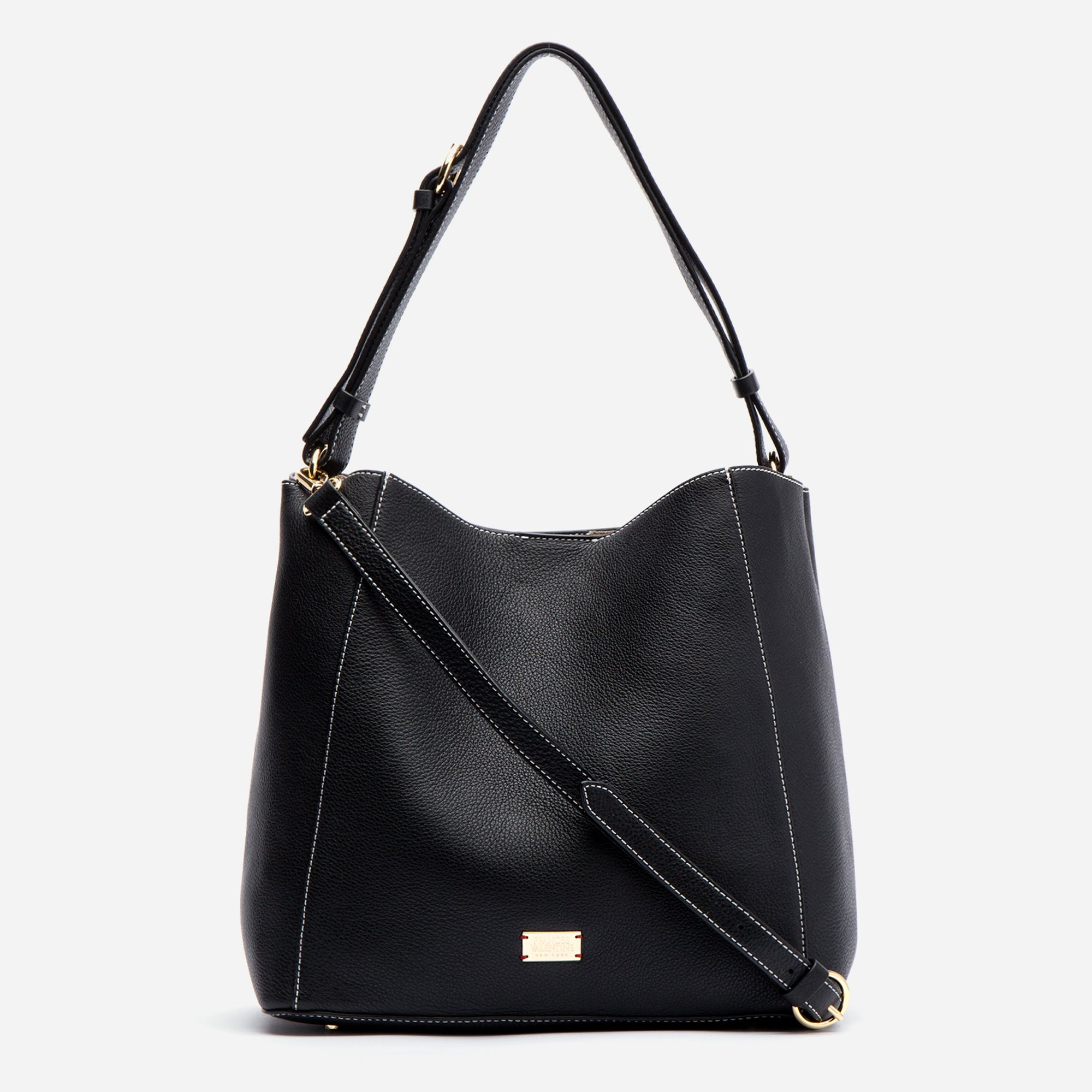 Medium June Hobo Leather Black - Frances Valentine