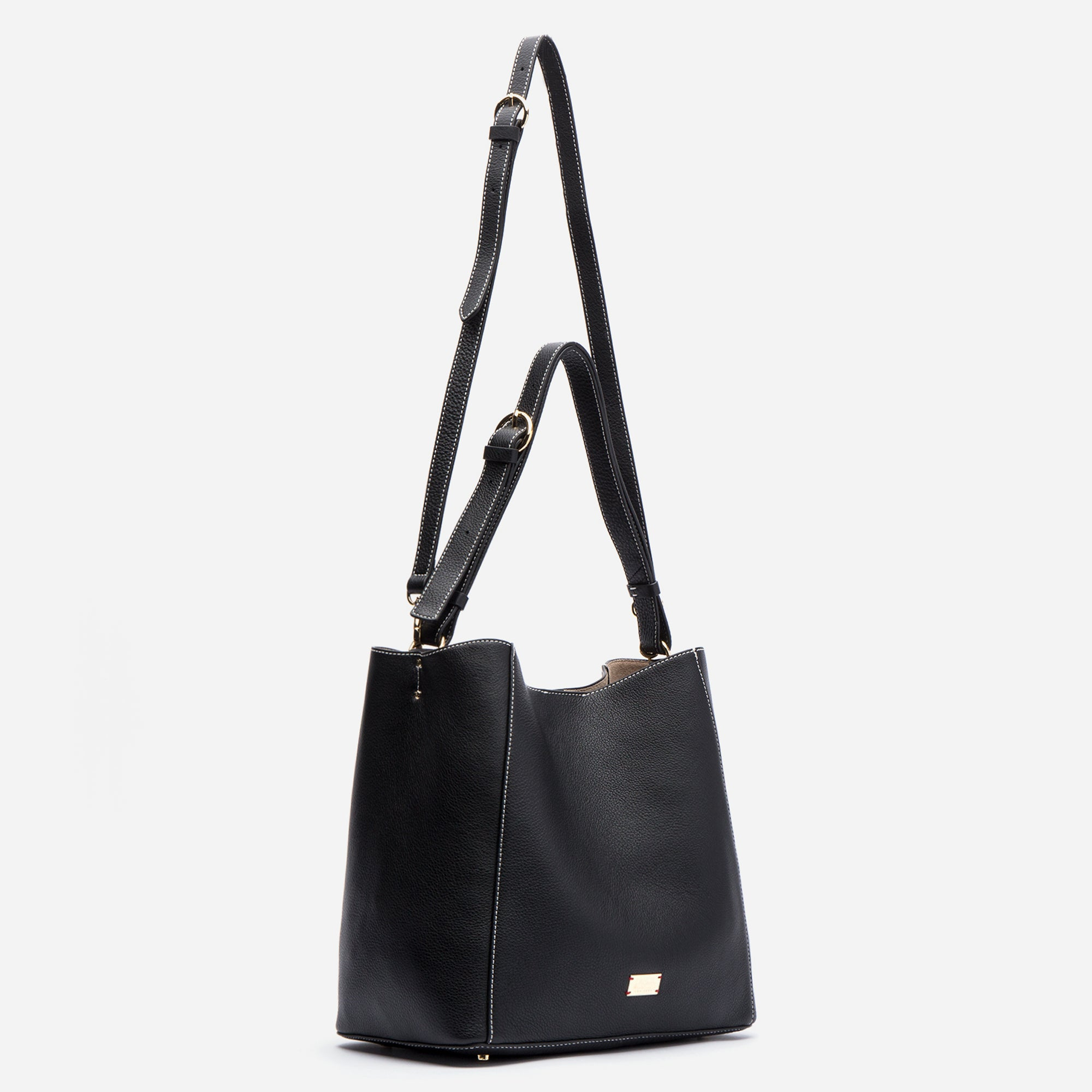 Medium June Hobo Leather Black