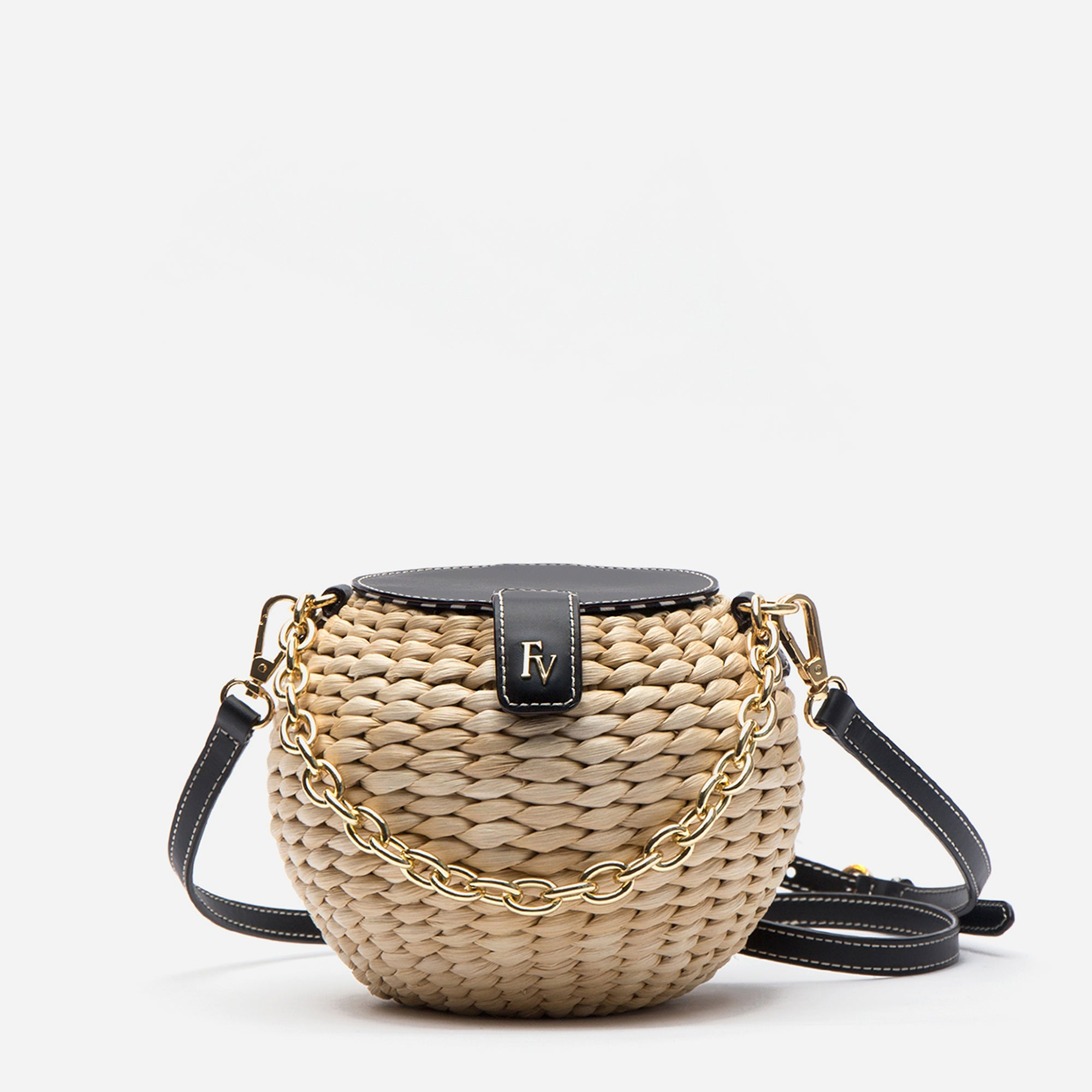 Honeypot Basket Crossbody Natural Black