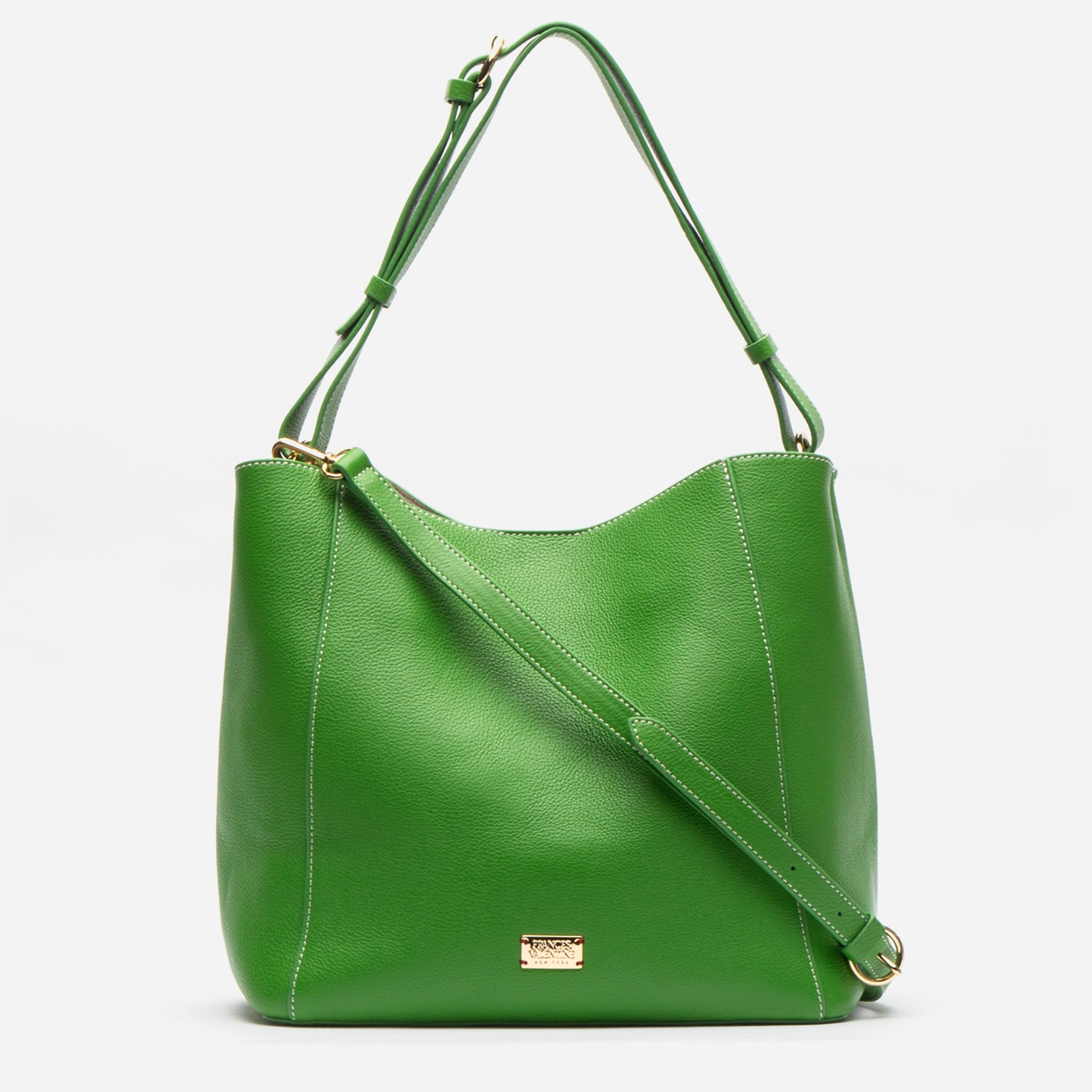 June Hobo Leather Shoulder Tote Grass - Frances Valentine