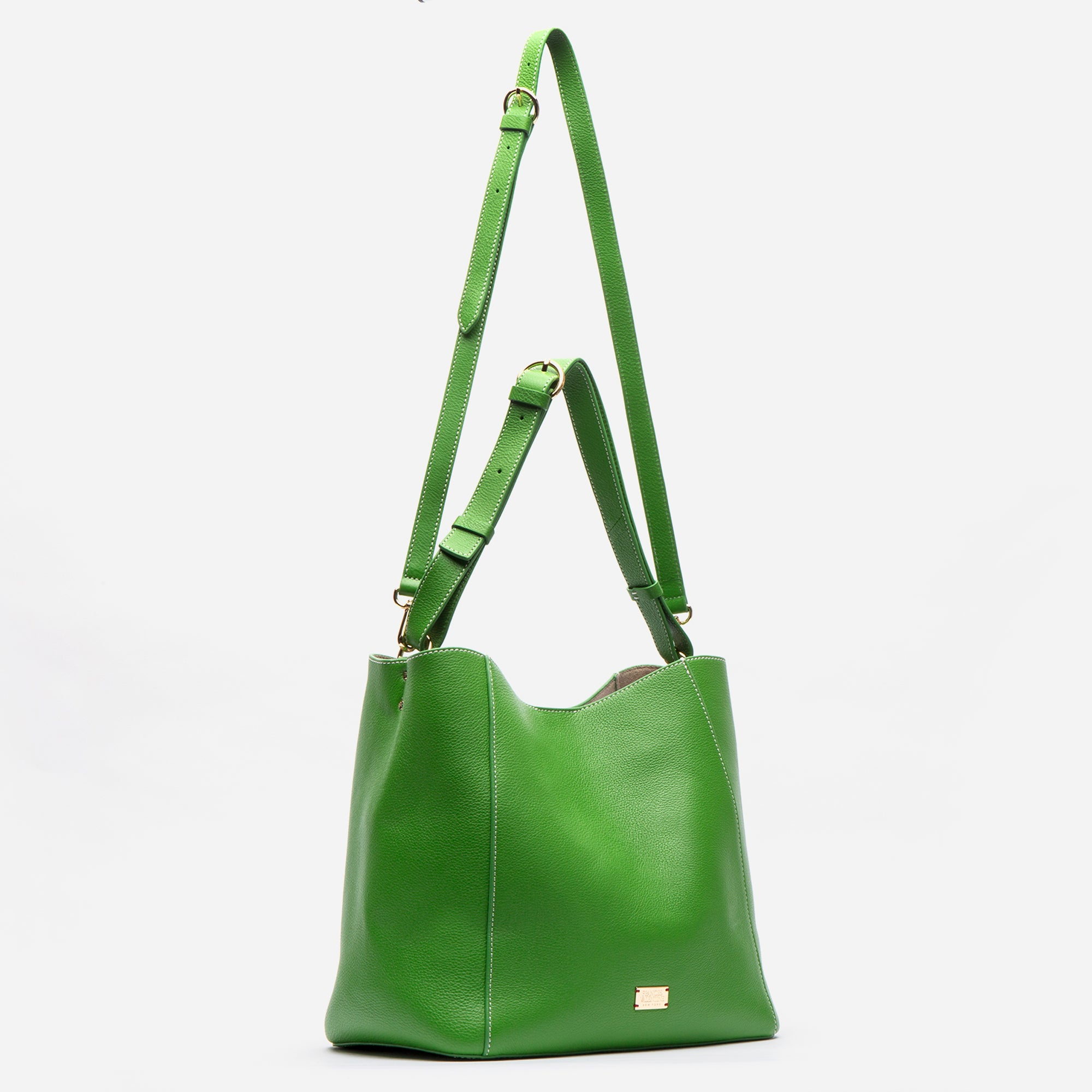 June Hobo Leather Shoulder Tote Grass