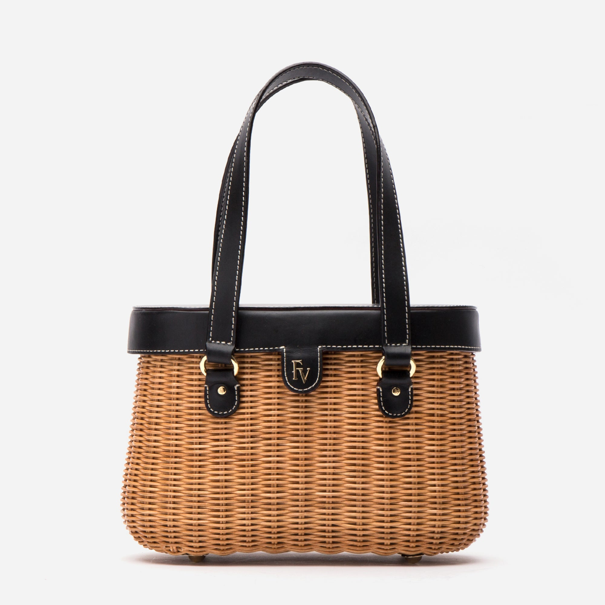 Arielle Wicker Basket Black - Frances Valentine