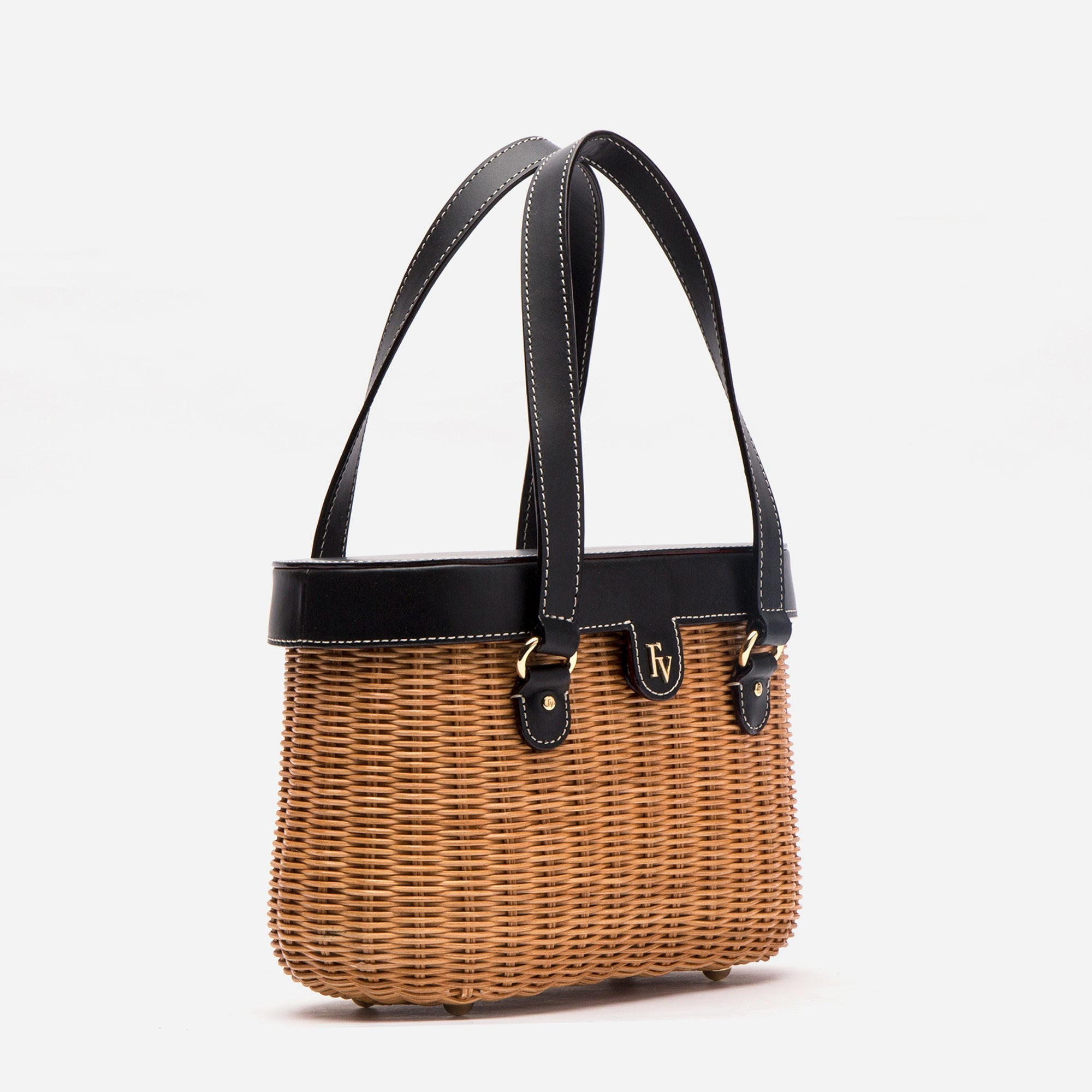 Arielle Wicker Basket Bag Black