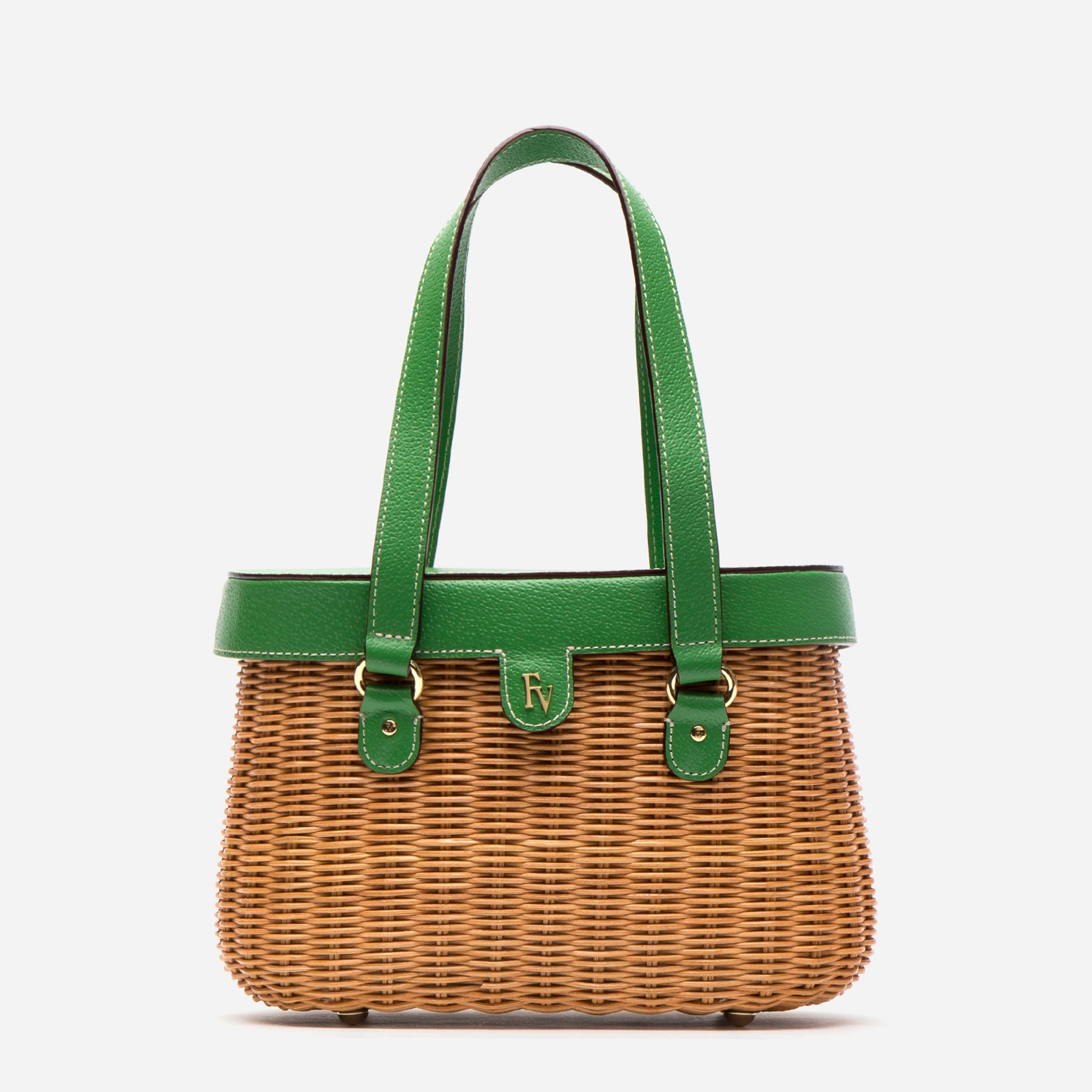 Arielle Wicker Basket Bag Green