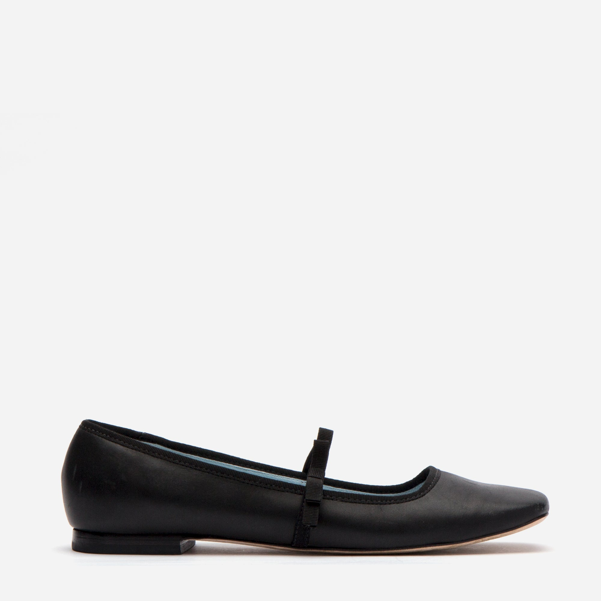 Jude Mary Jane Leather Flat Black - Frances Valentine