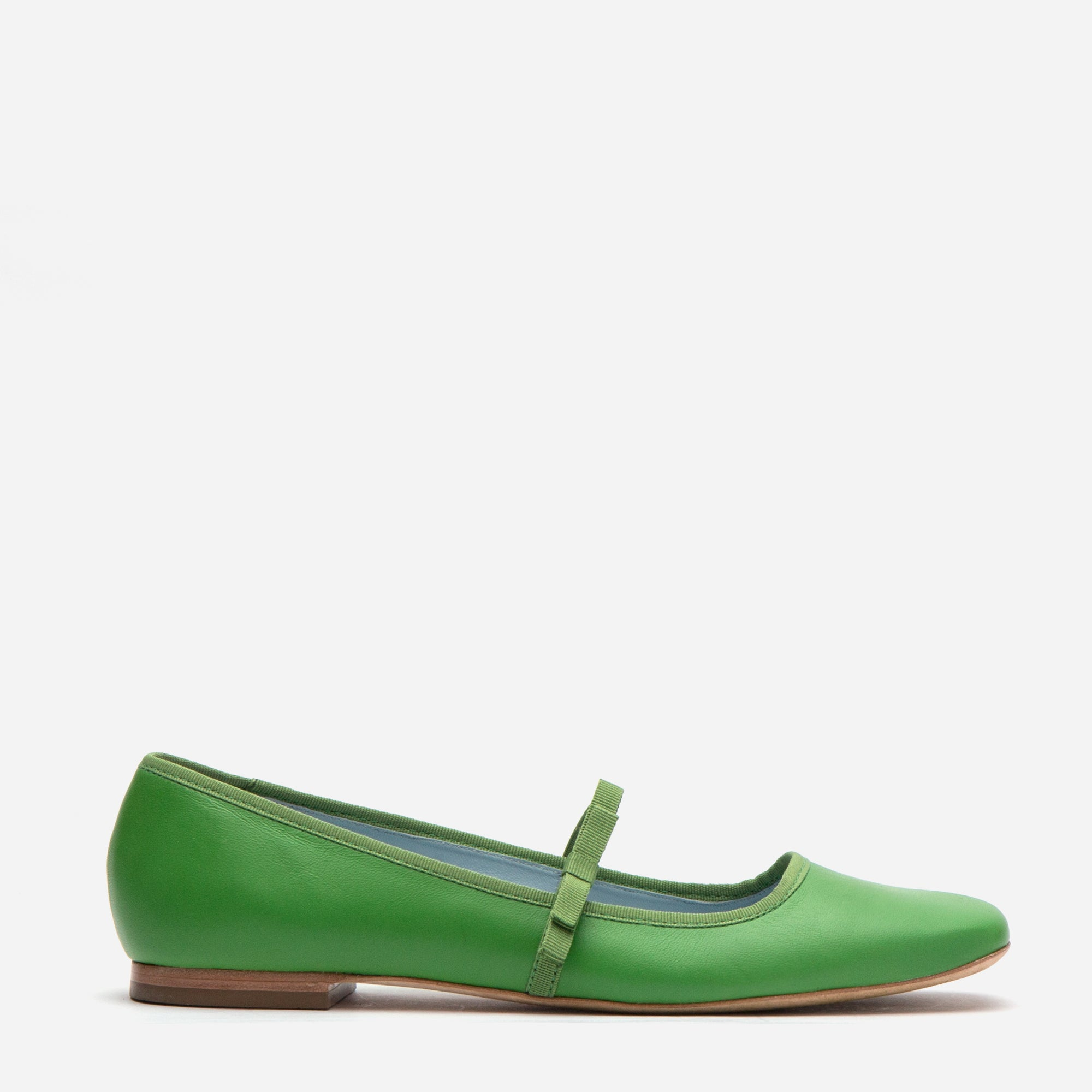 Jude Mary Jane Leather Flat Green