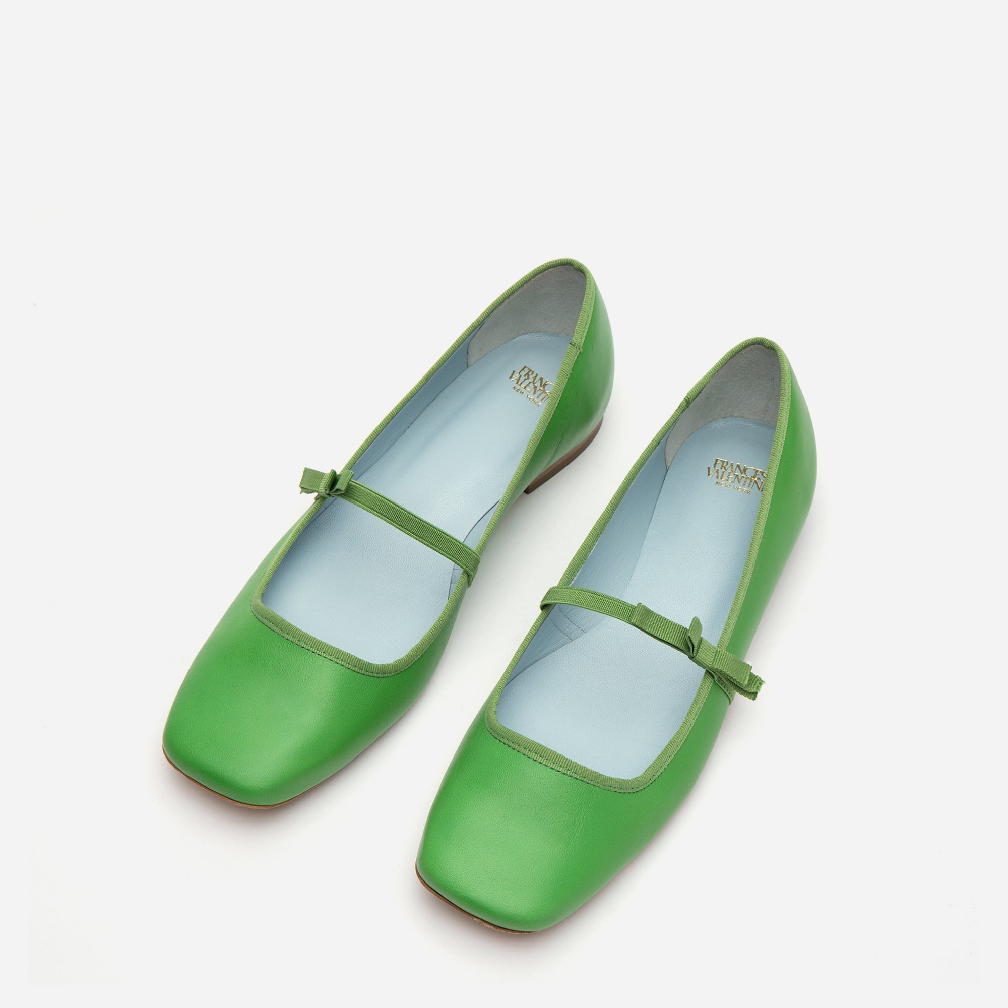 Jude Mary Jane Leather Flats Grass
