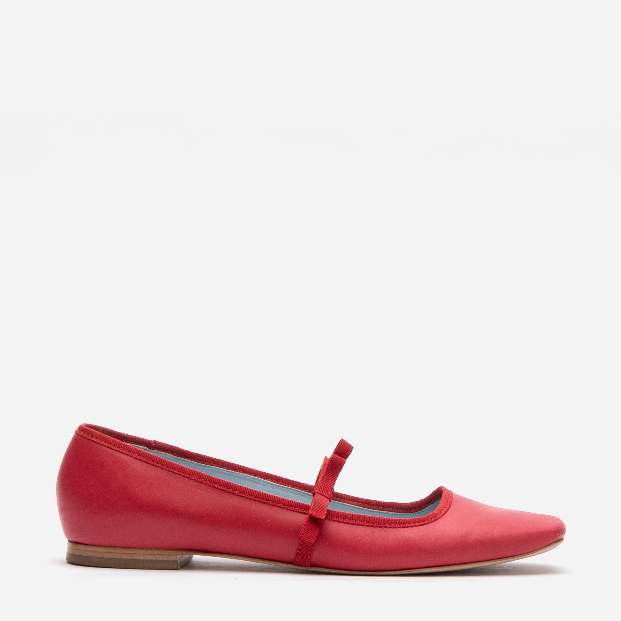 Jude Mary Jane Leather Flats Red