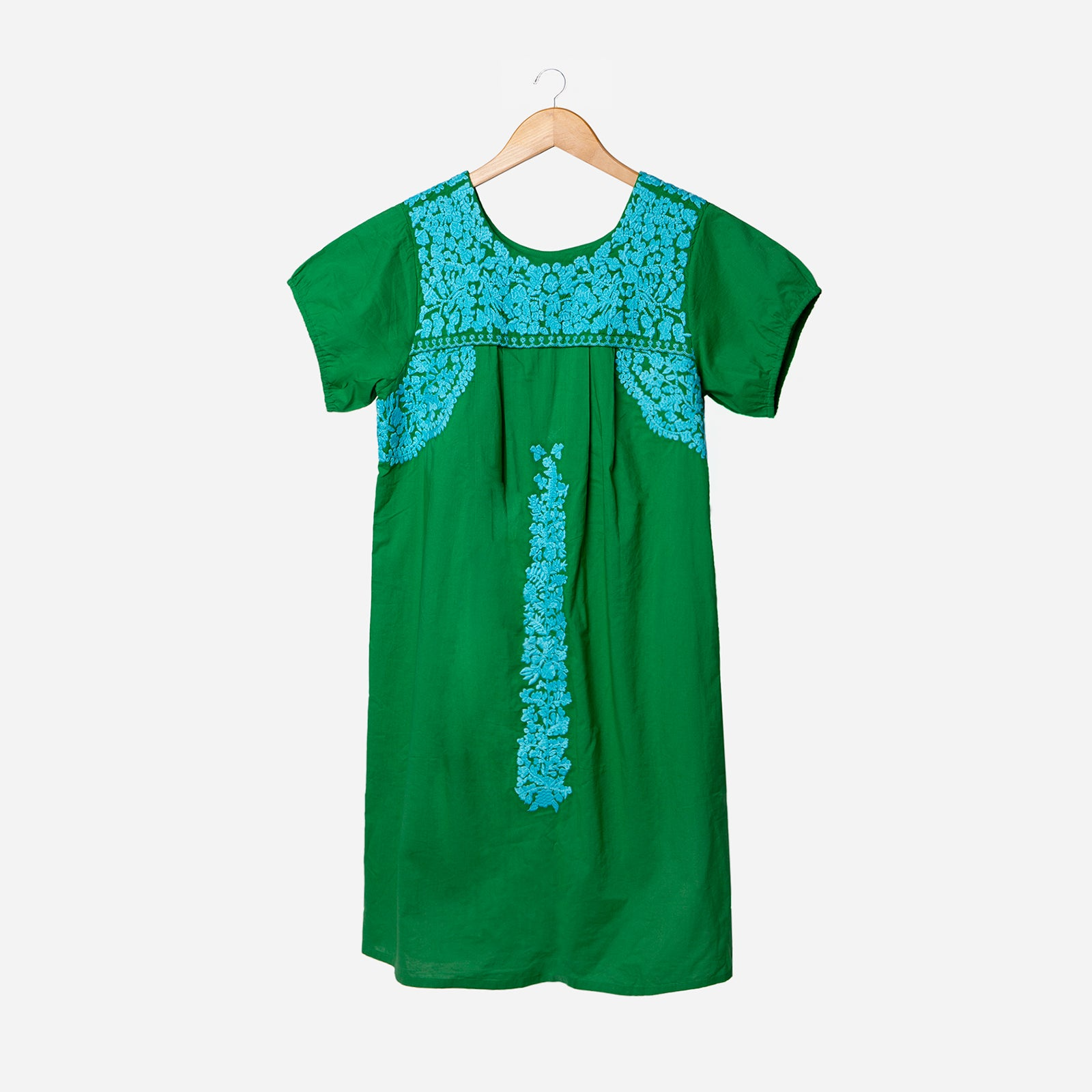 Floral Embroidered Lace Dress Green Light Blue