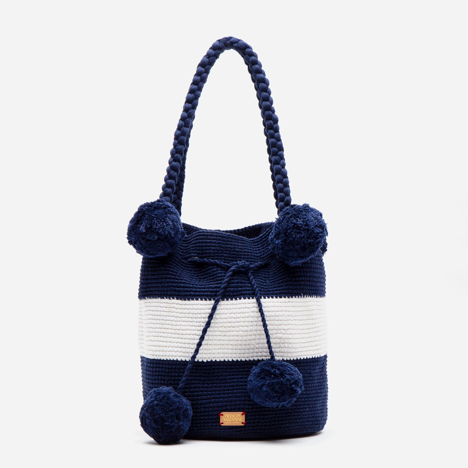 Haley Woven Bucket Navy White - Frances Valentine