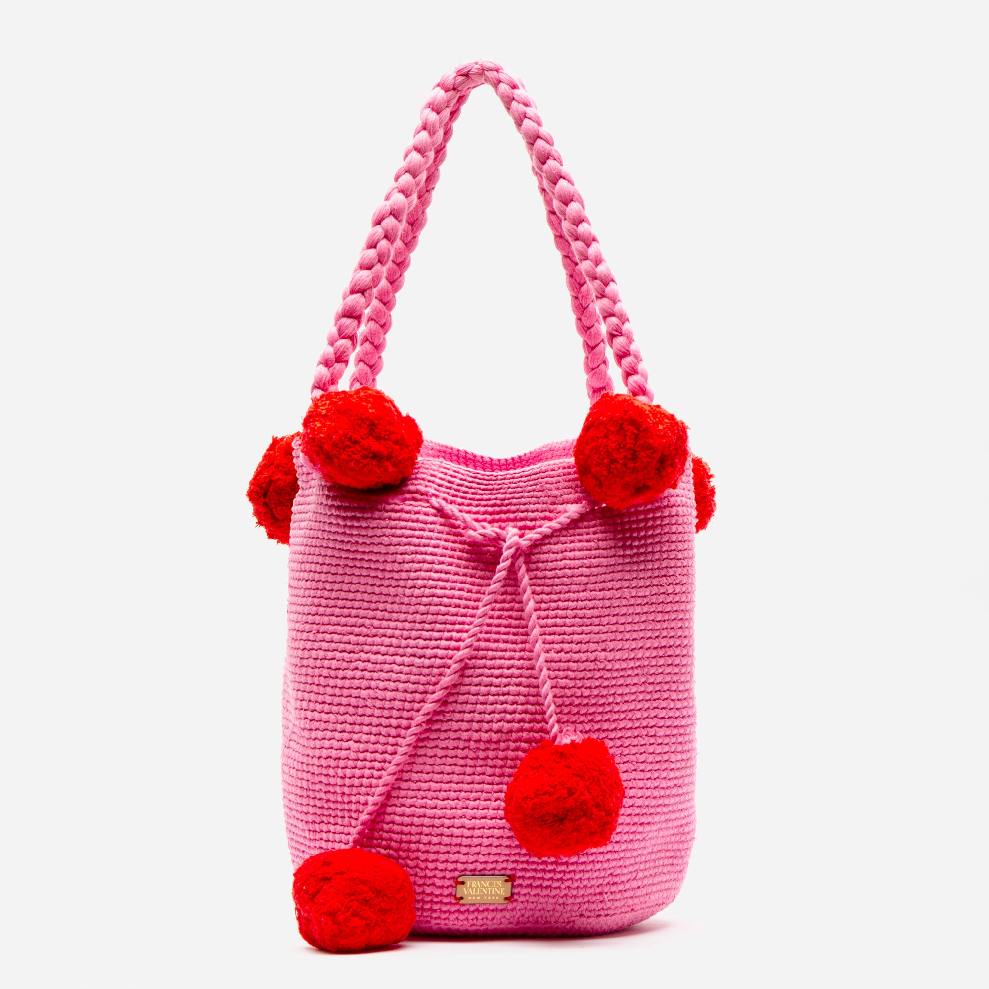 Haley Woven Bucket Pink Red