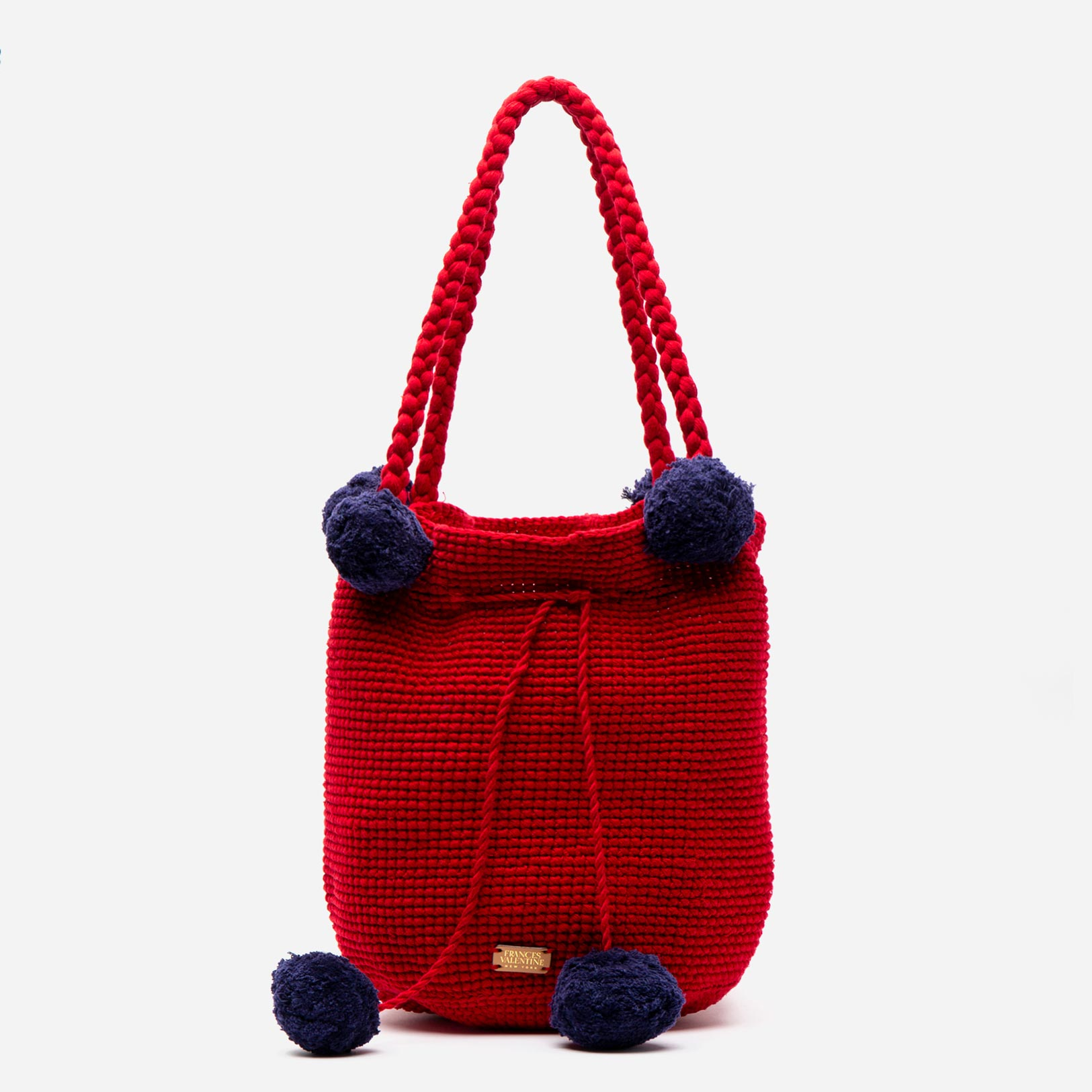 Haley Woven Bucket Red Navy - Frances Valentine