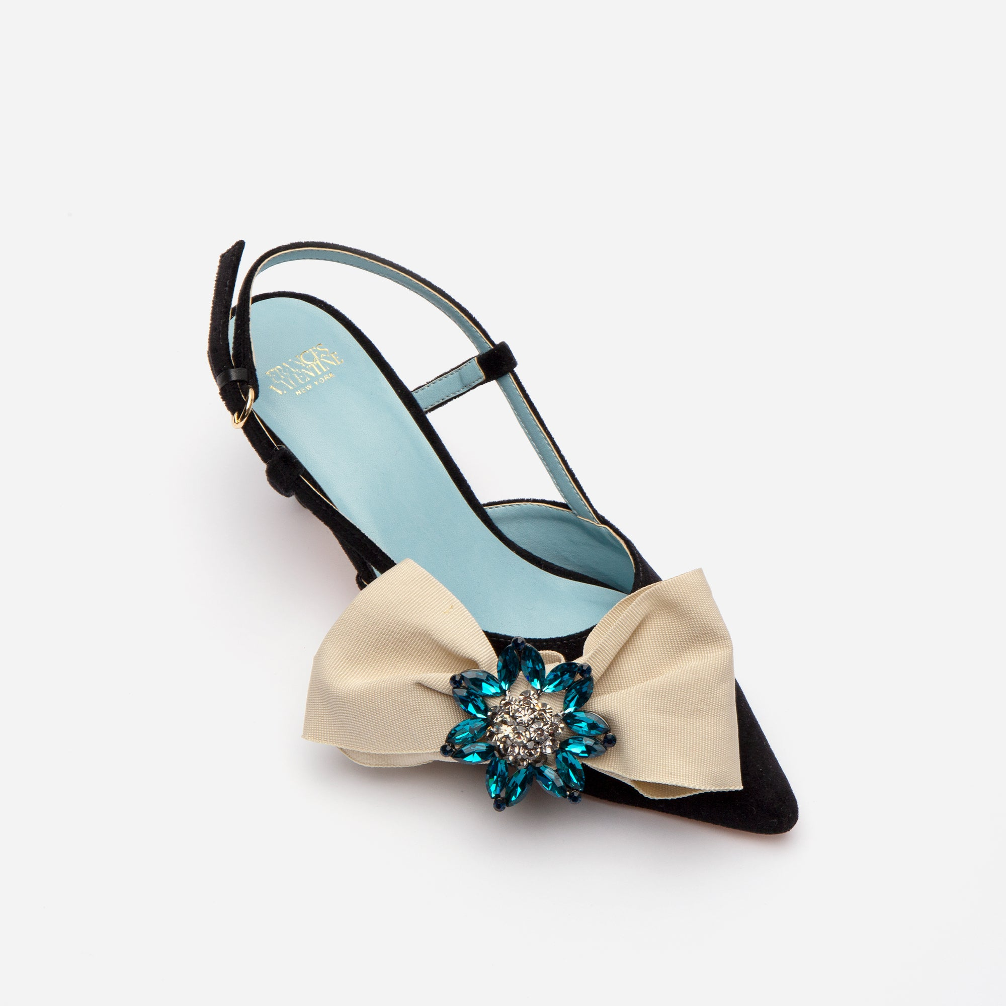 Grace Bow Velvet Kitten Heel Black Oyster