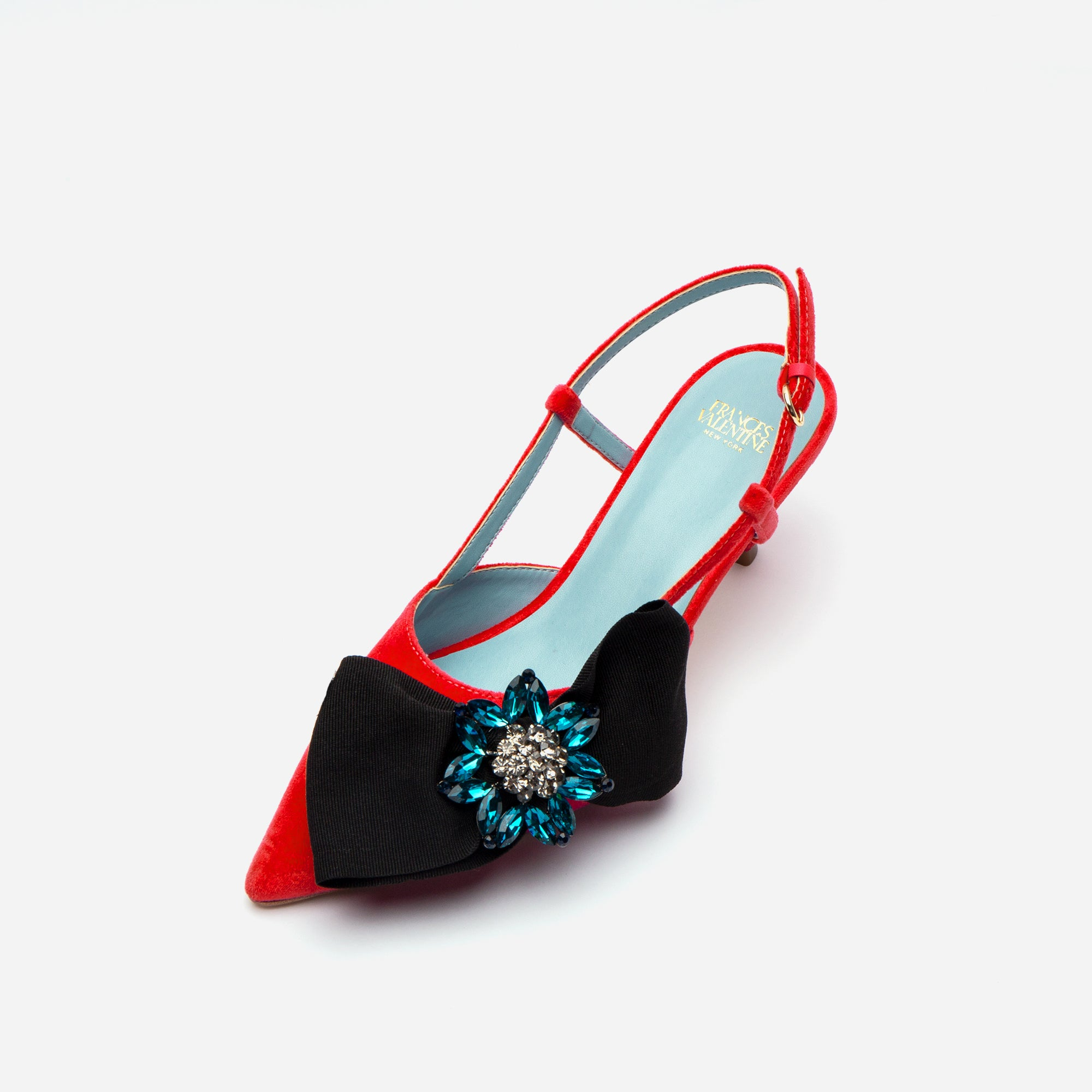 Grace Bow Velvet Kitten Heel Red Black