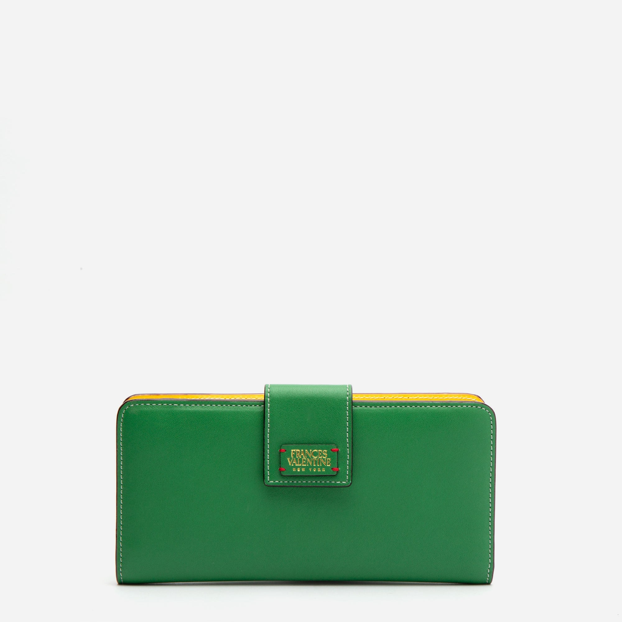 Jefferson Slim Wallet Green Yellow - Frances Valentine