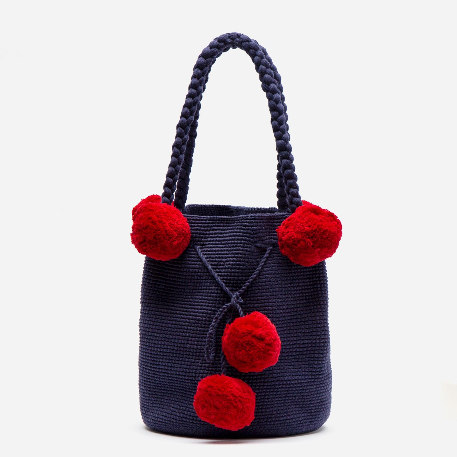 Haley Woven Bucket Navy Red - Frances Valentine