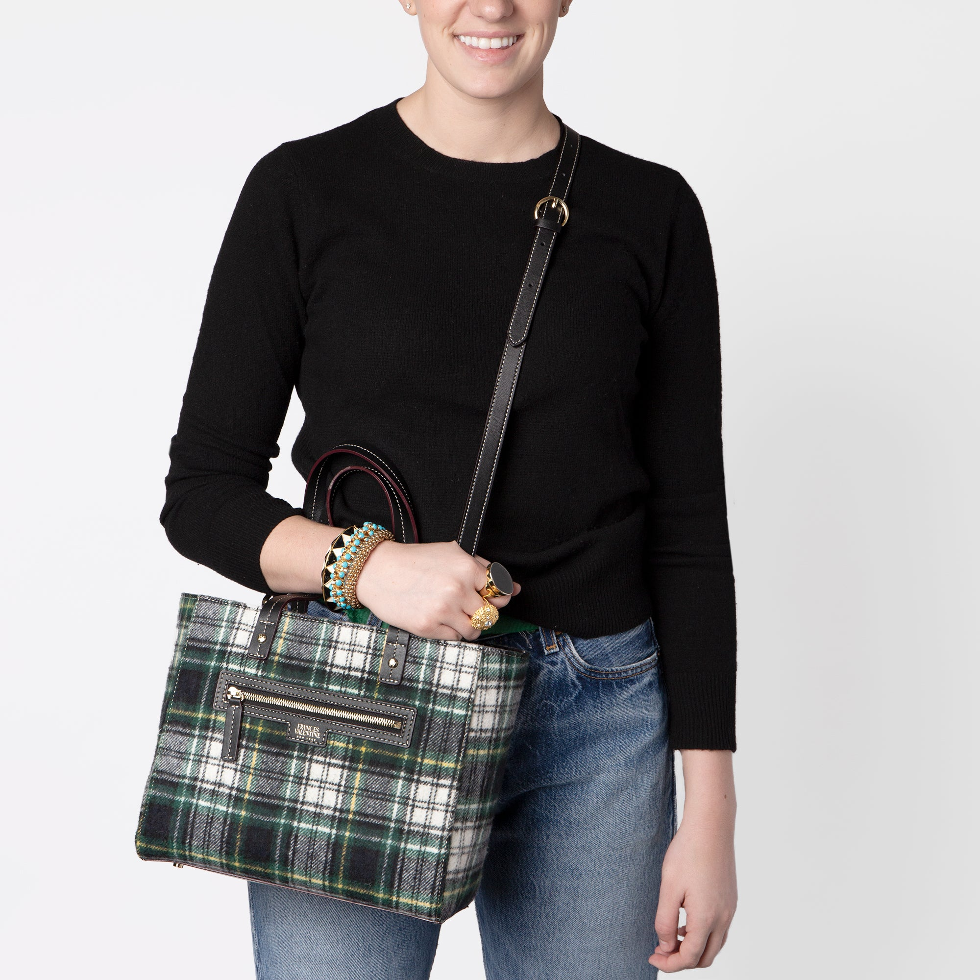 Small Henry Tote Plaid Wool