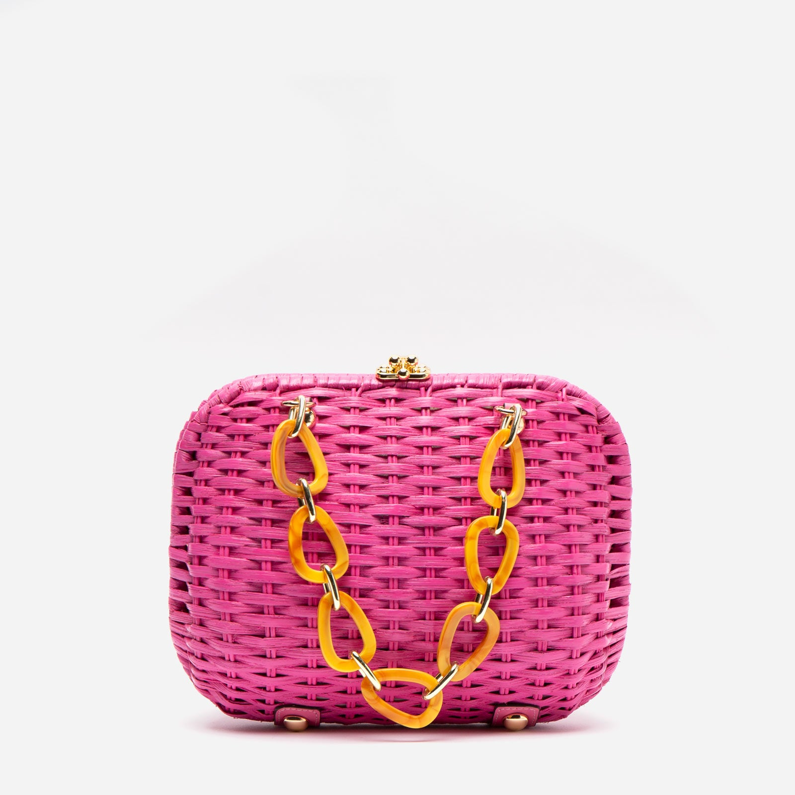 Hen Wicker Basket Pink