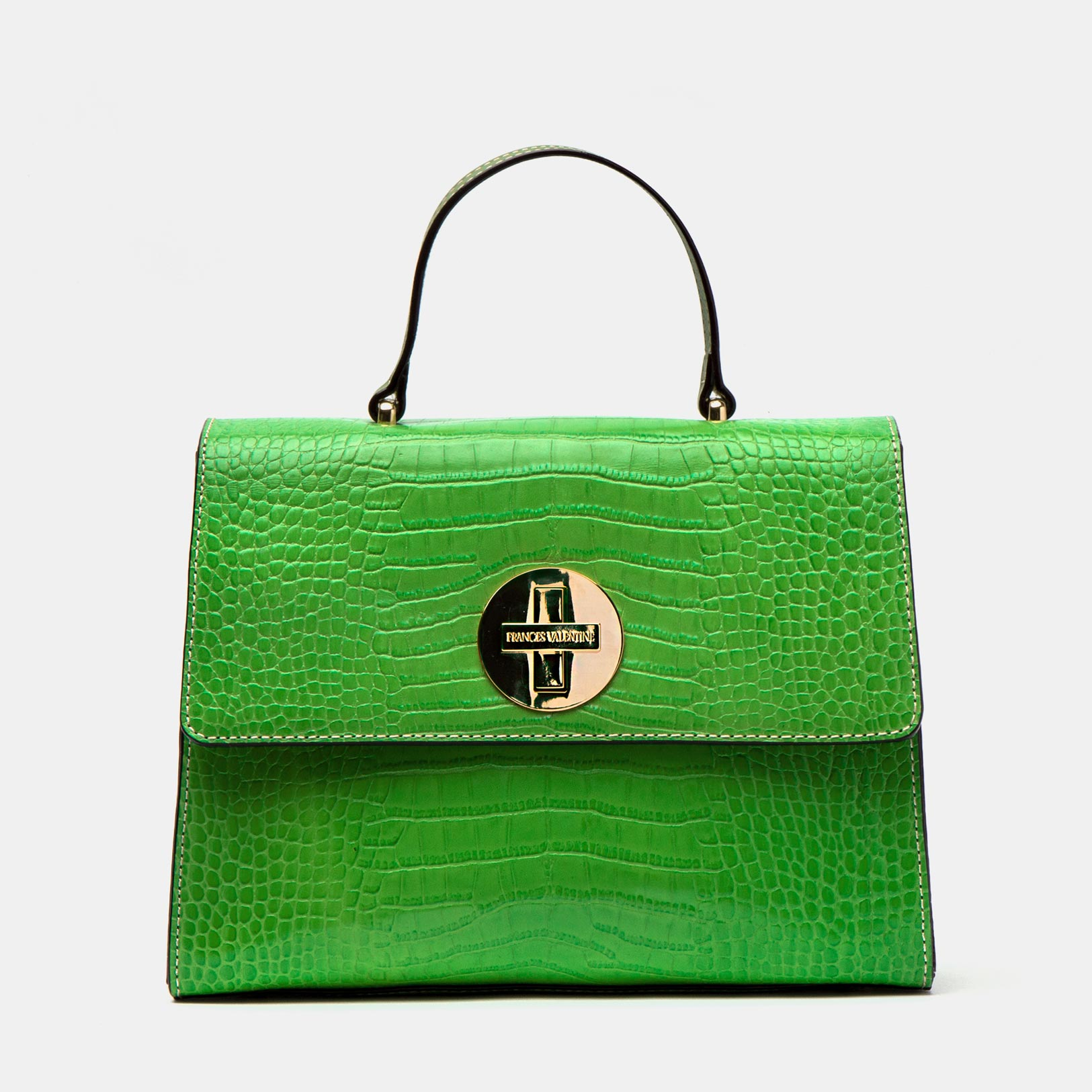 Holly Satchel Croc Embossed Leather Green - Frances Valentine