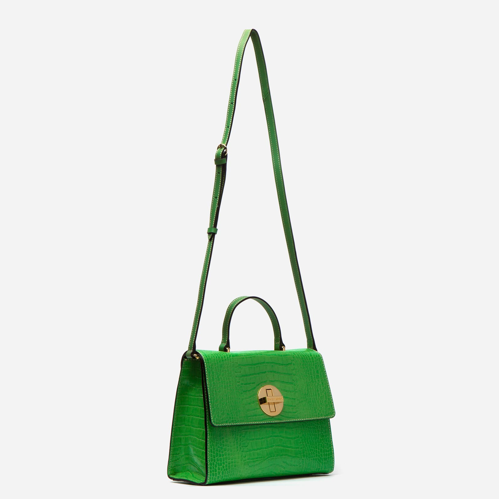 Holly Satchel Croc Embossed Leather Green