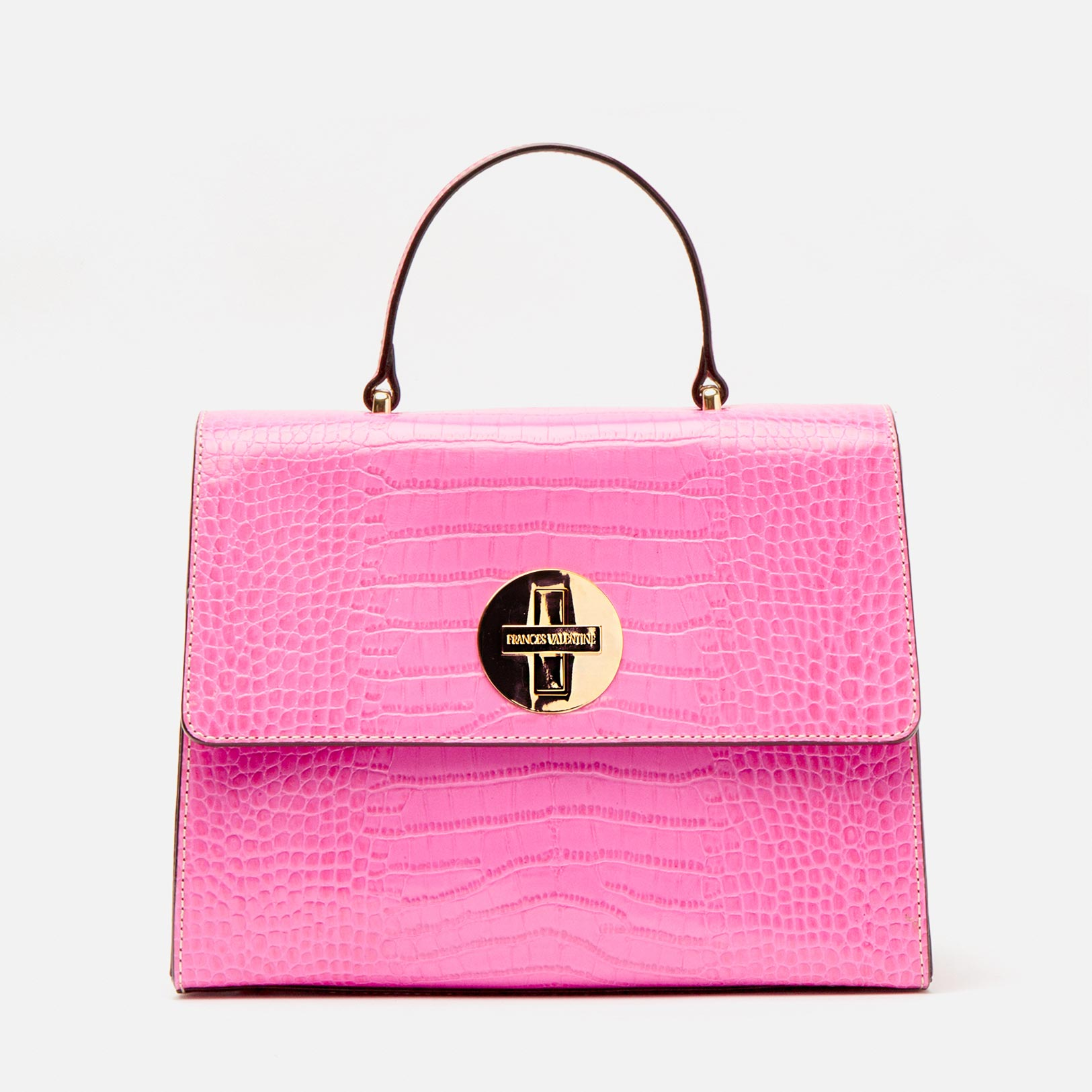 Holly Satchel Croc Embossed Leather Pink - Frances Valentine
