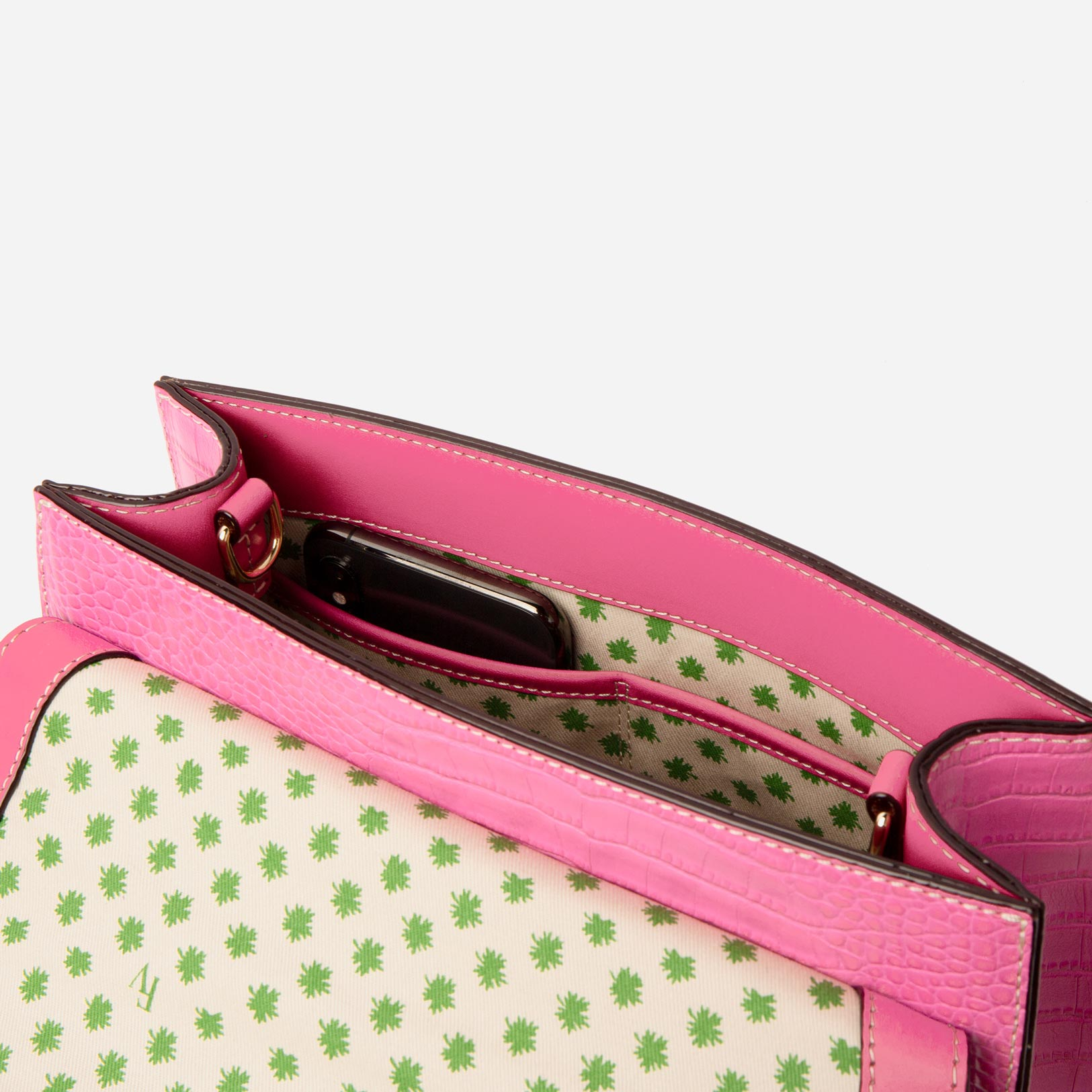 Holly Satchel Croc Embossed Leather Pink