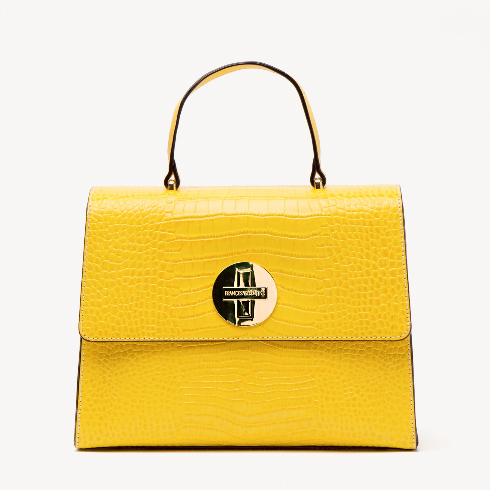 Holly Satchel Croc Embossed Leather Yellow - Frances Valentine