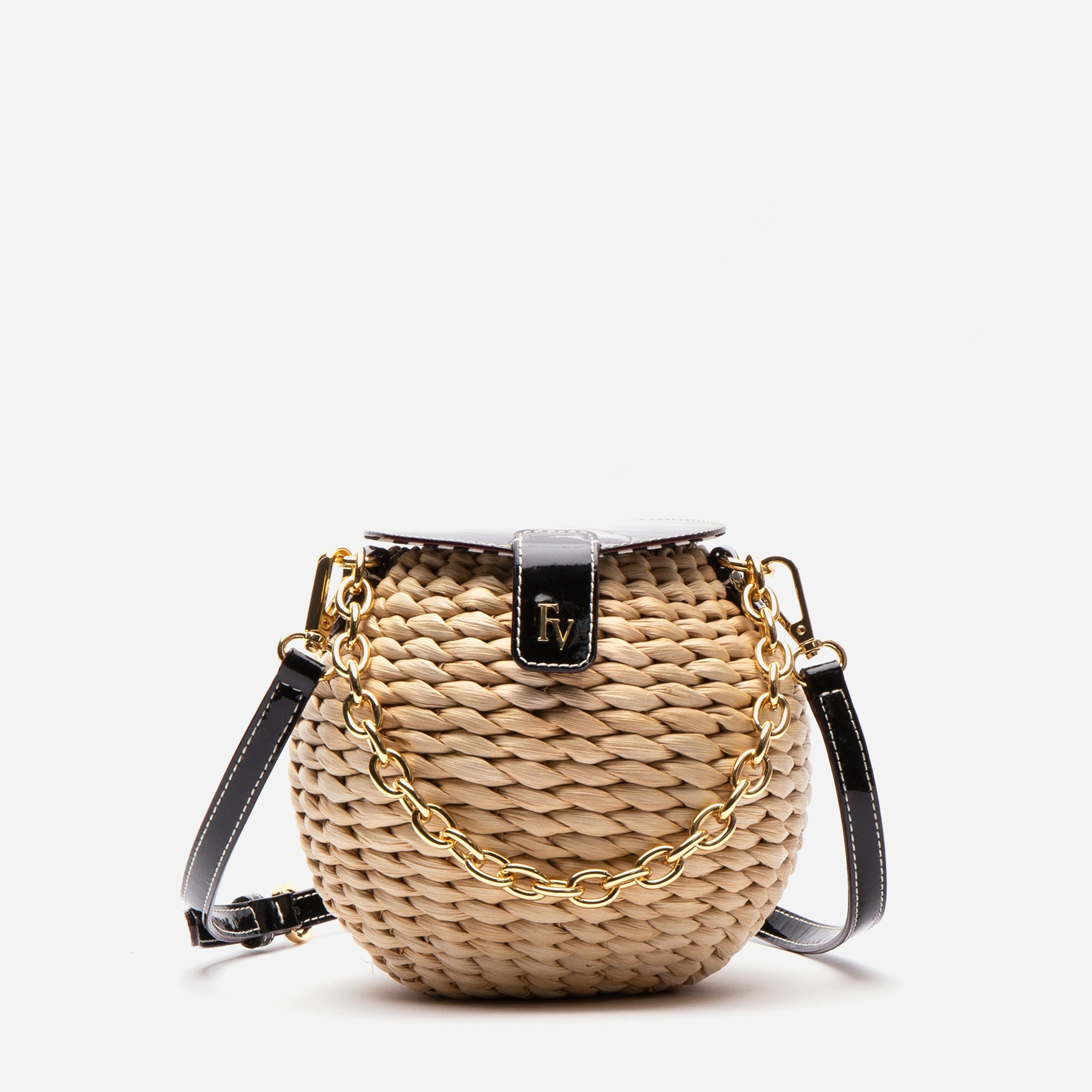 Honeypot Basket Crossbody Black Patent