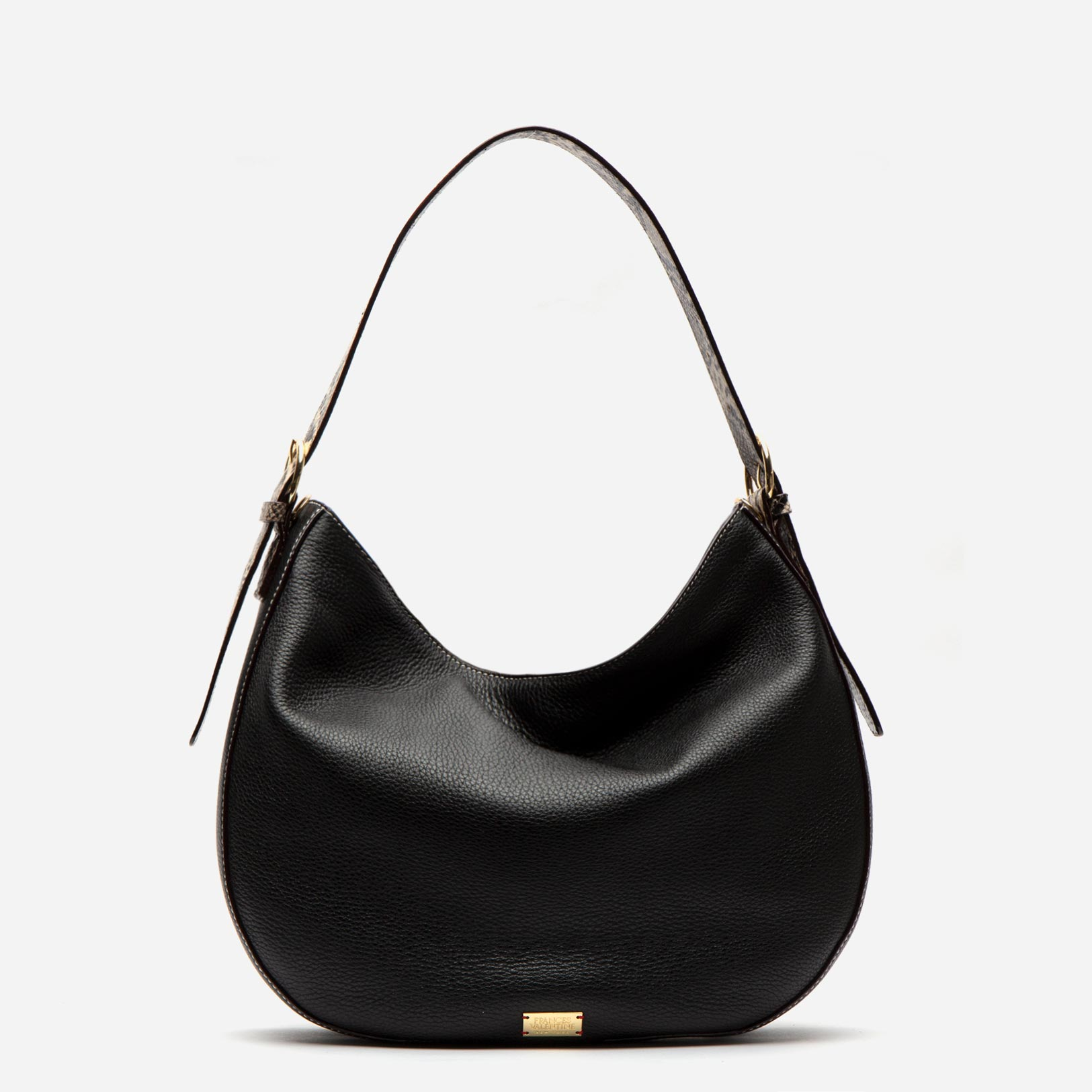 Honey Tumbled Leather Hobo Black Roccia - Frances Valentine