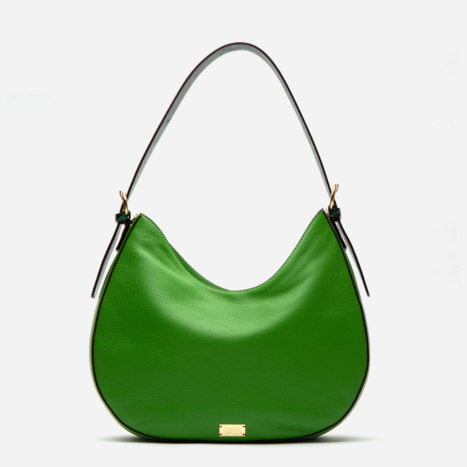 Honey Tumbled Leather Hobo Green - Frances Valentine