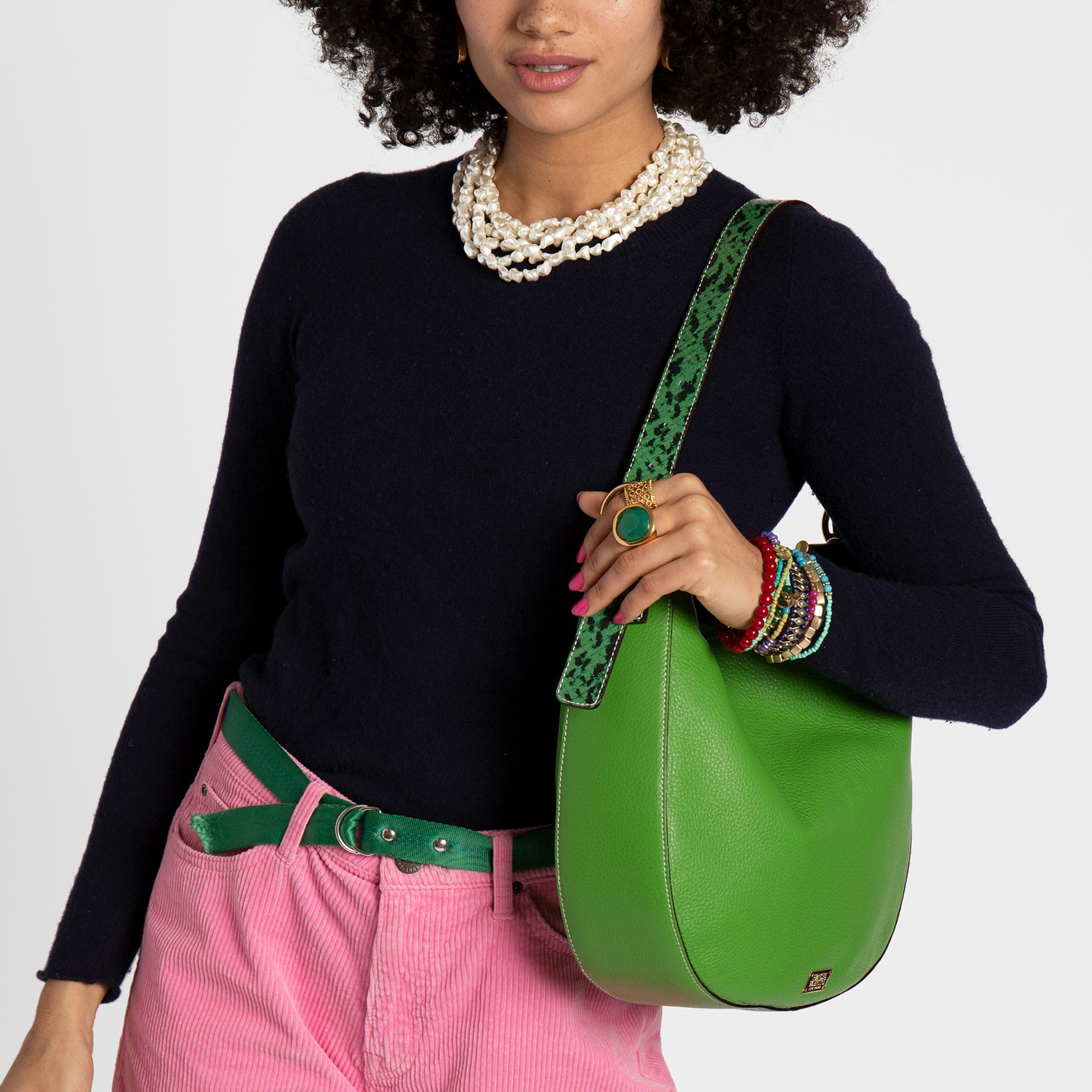 Honey Tumbled Leather Hobo Green