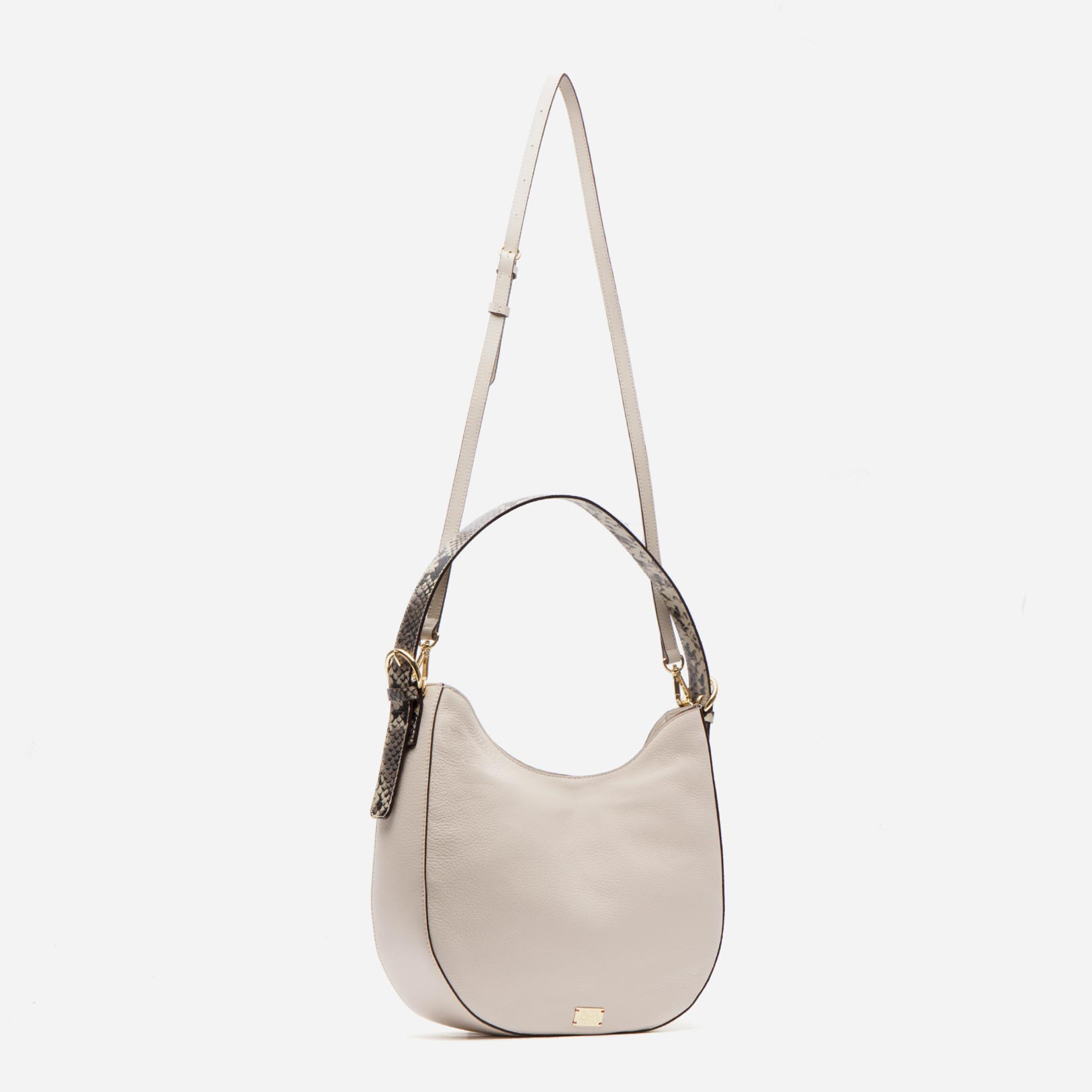 Honey Tumbled Leather Hobo Oyster Roccia