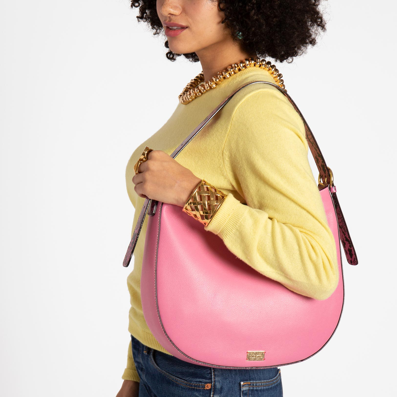 Honey Tumbled Leather Hobo Pink