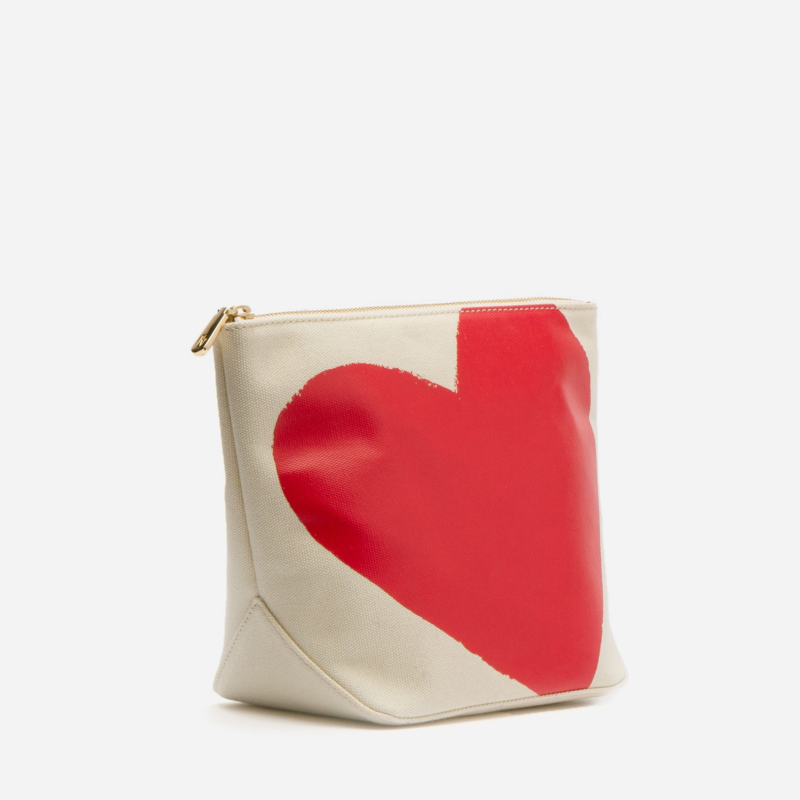 Tall Canvas Heart Cosmetic Bag